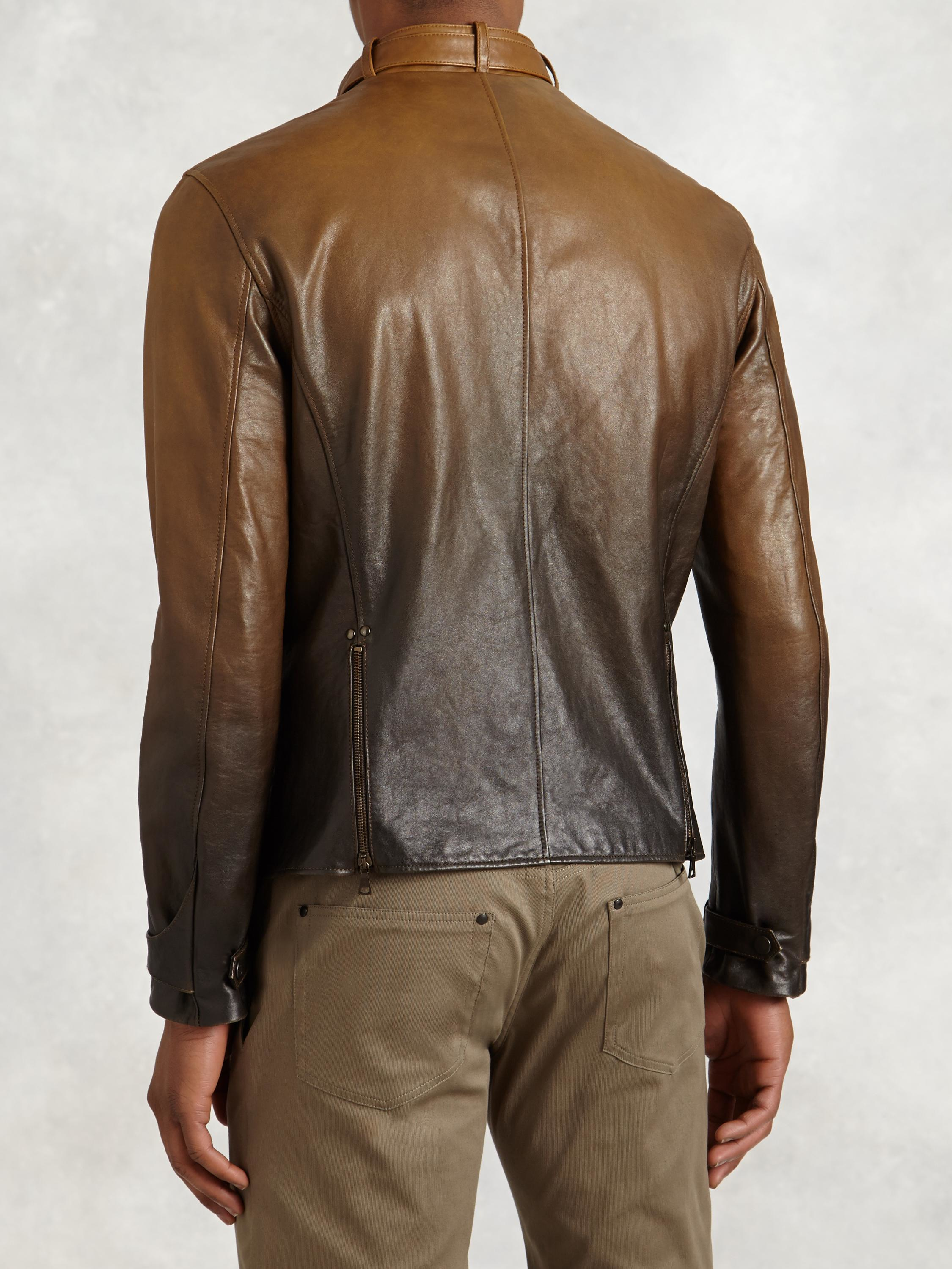 John Varvatos Gradient Lambskin Moto Jacket In Brown For