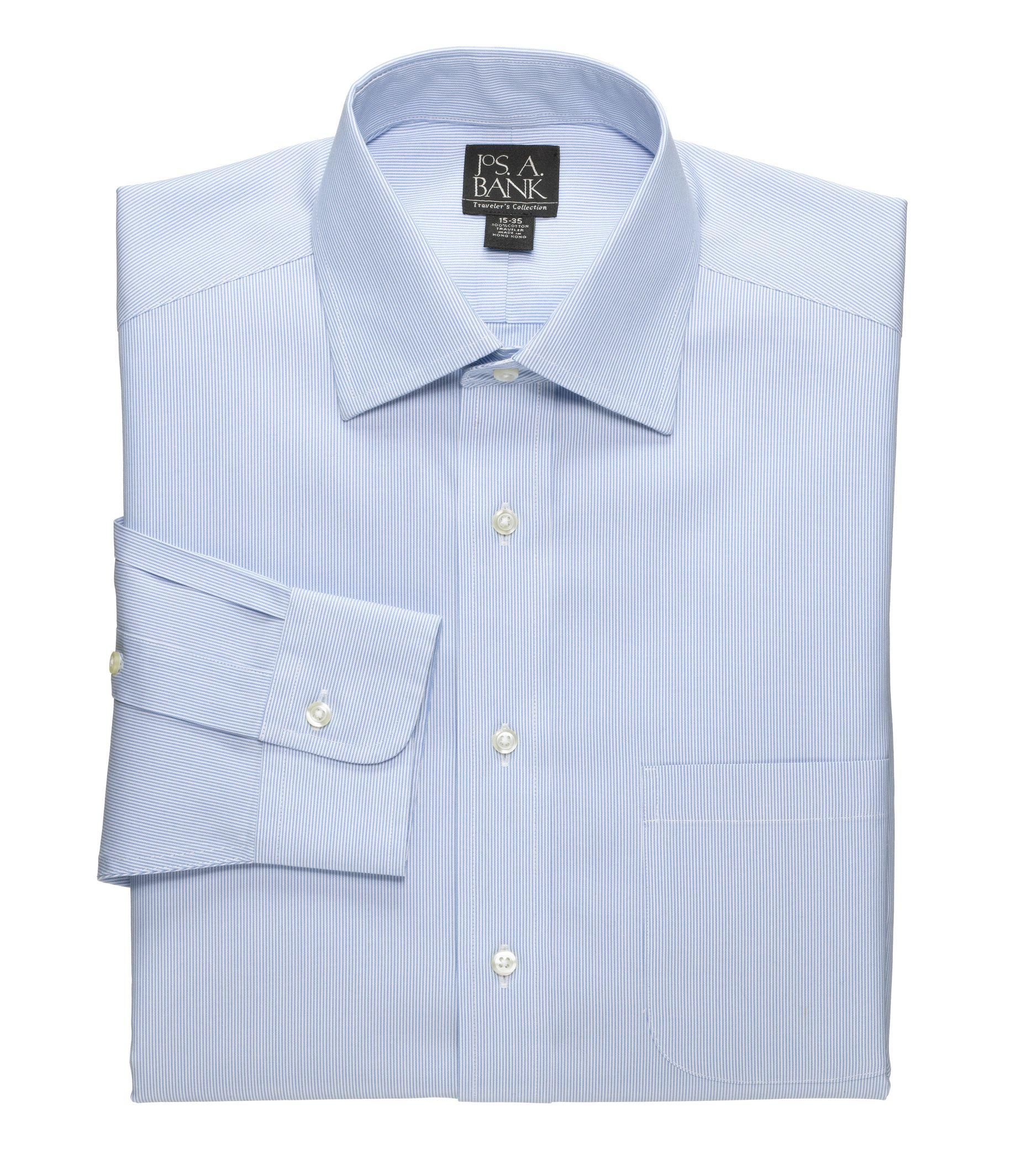 Lyst jos a bank traveller collection traditional fit for Spread collar dress shirt without tie