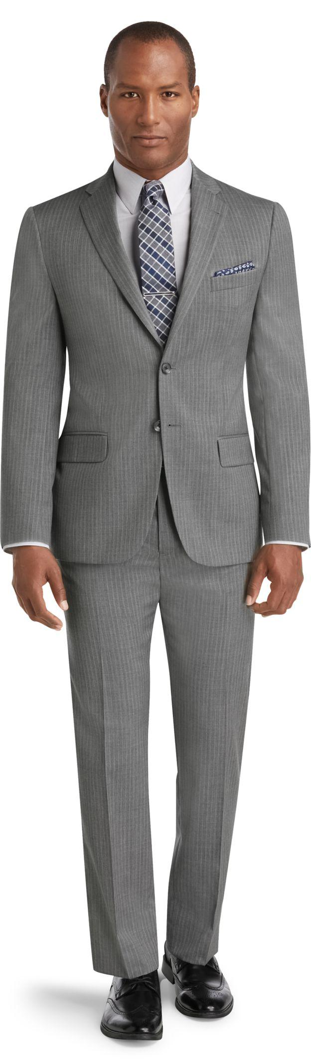 Lyst jos a bank reserve collection slim fit stripe for Jos a bank slim fit vs tailored fit shirts