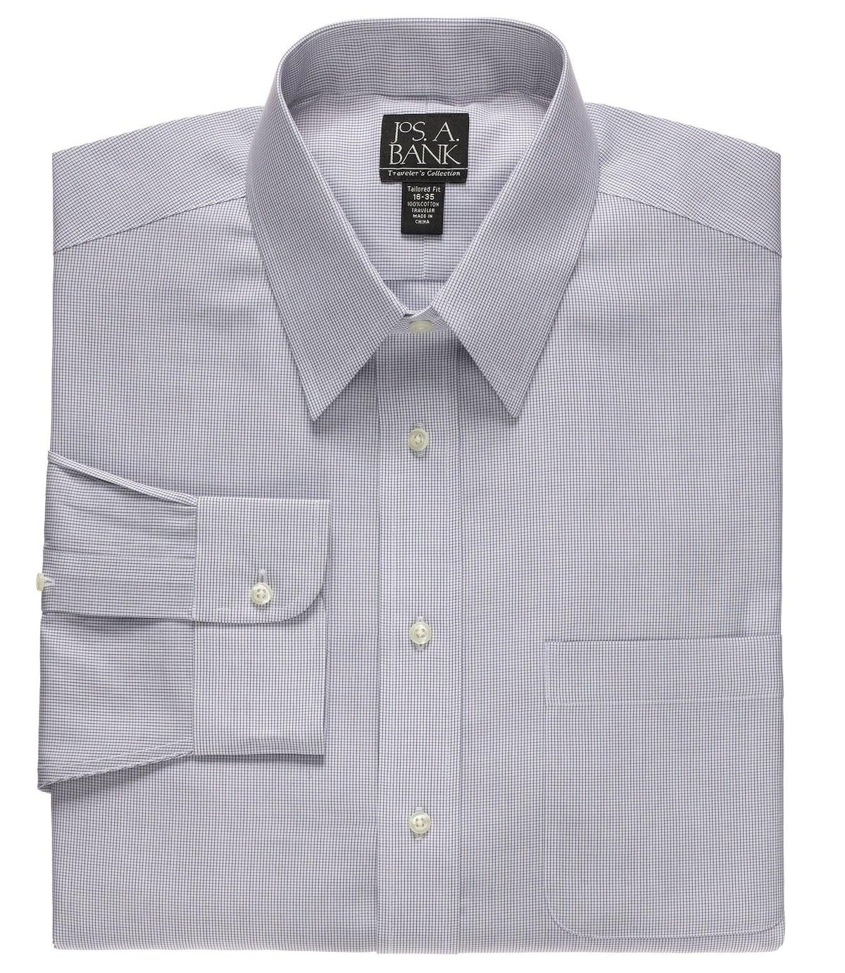 Lyst jos a bank traveler collection tailored fit point for Joseph banks dress shirts