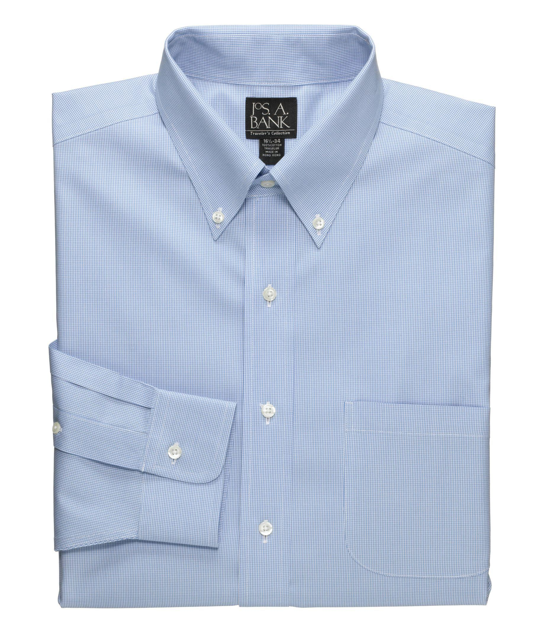 Lyst jos a bank traveler tailored fit button down for Tall collar dress shirts