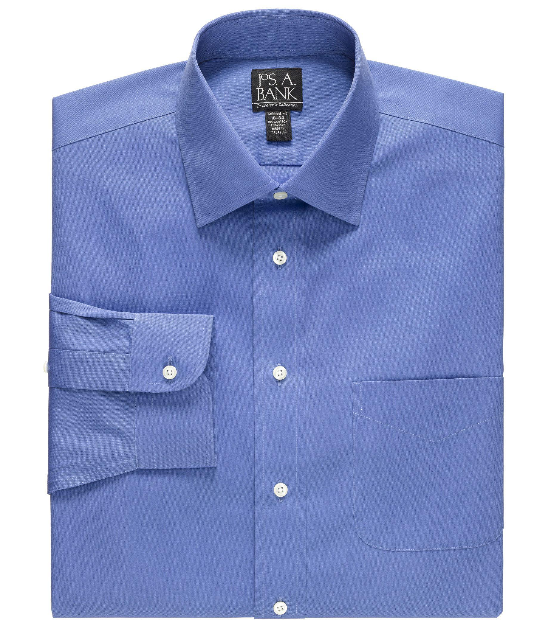 Lyst jos a bank traveller collection slim fit spread for Spread collar dress shirt without tie