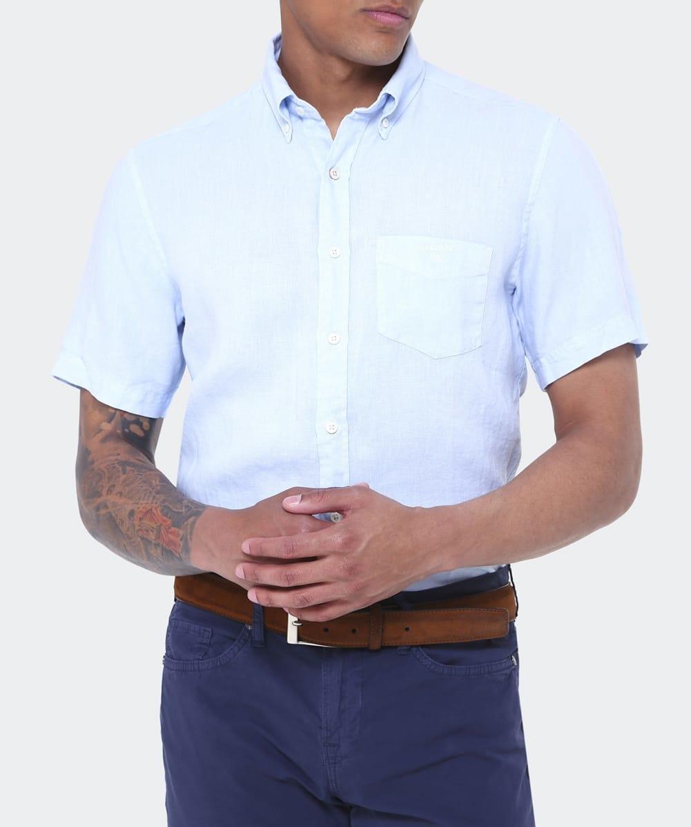 Lyst gant short sleeve linen shirt in blue for men for Short sleeve linen shirt