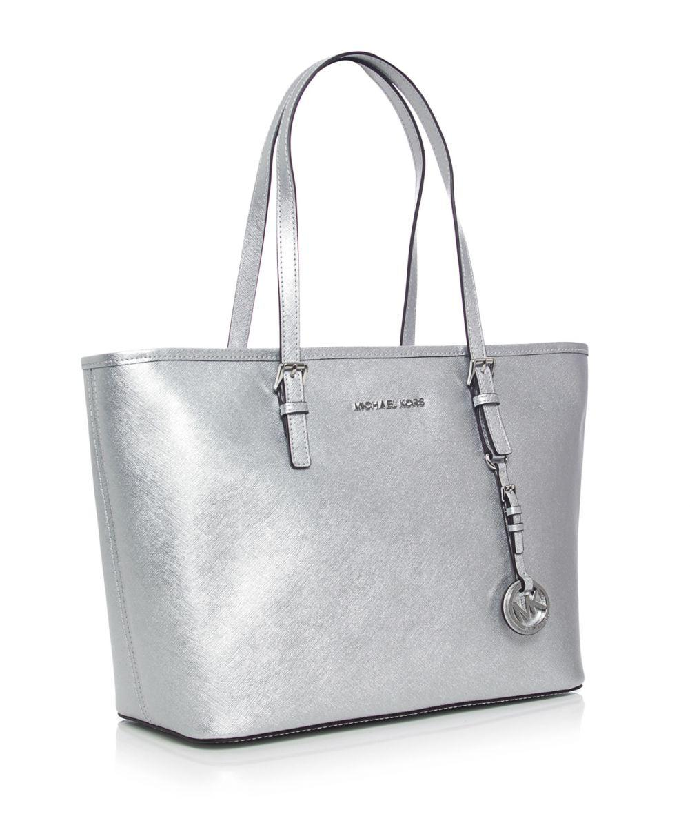 5a041335ffe5 ... saffiano leather tote silver f22b0 96b09; where to buy michael michael  kors metallic jet set travel tote bag in metallic lyst a39dc
