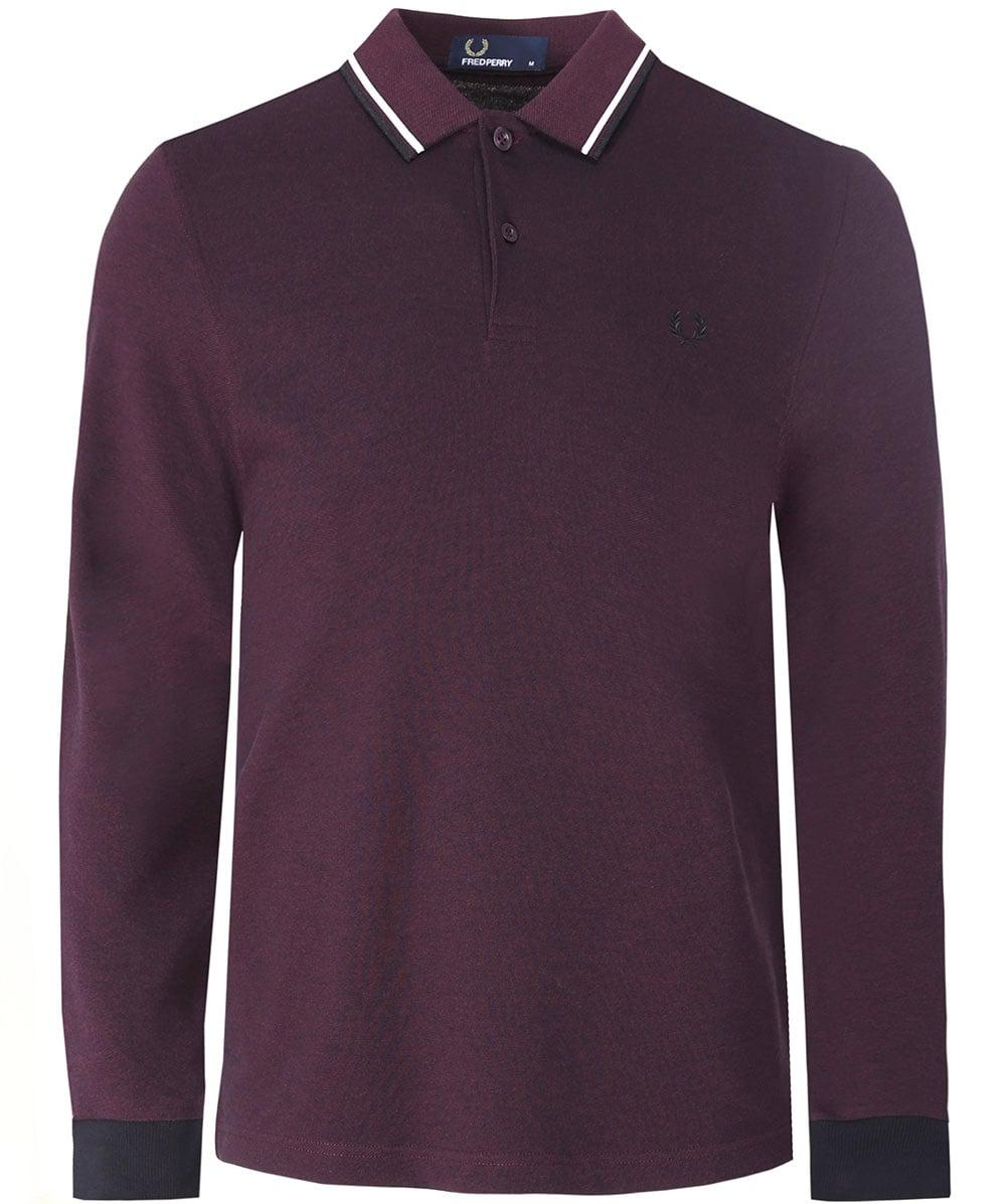 c7477a4bd Lyst - Fred Perry Long Sleeve Twin Tipped Polo Shirt in Purple for Men
