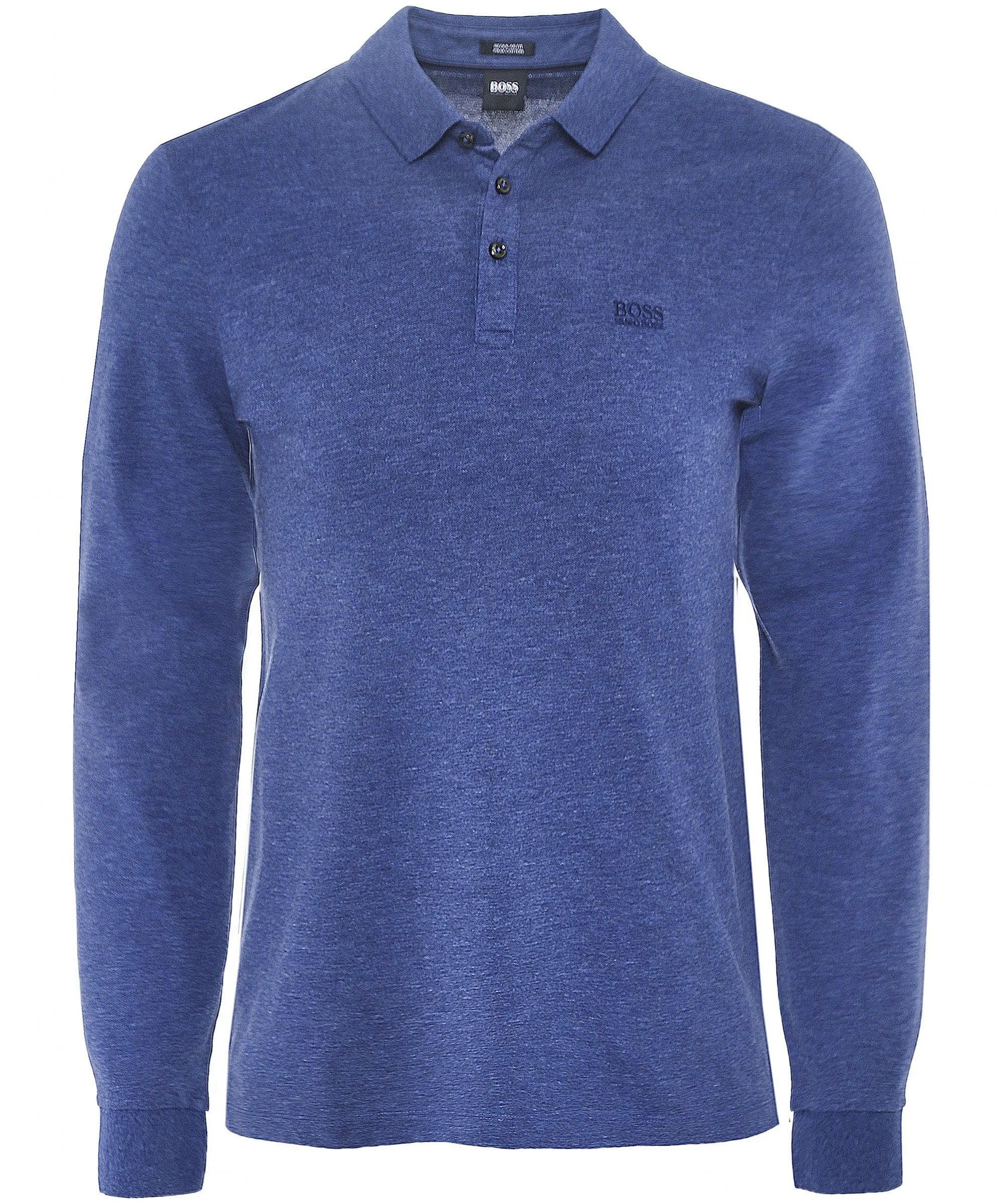 de07c7c7 BOSS - Blue Long Sleeve Pado 10 Polo Shirt for Men - Lyst. View fullscreen