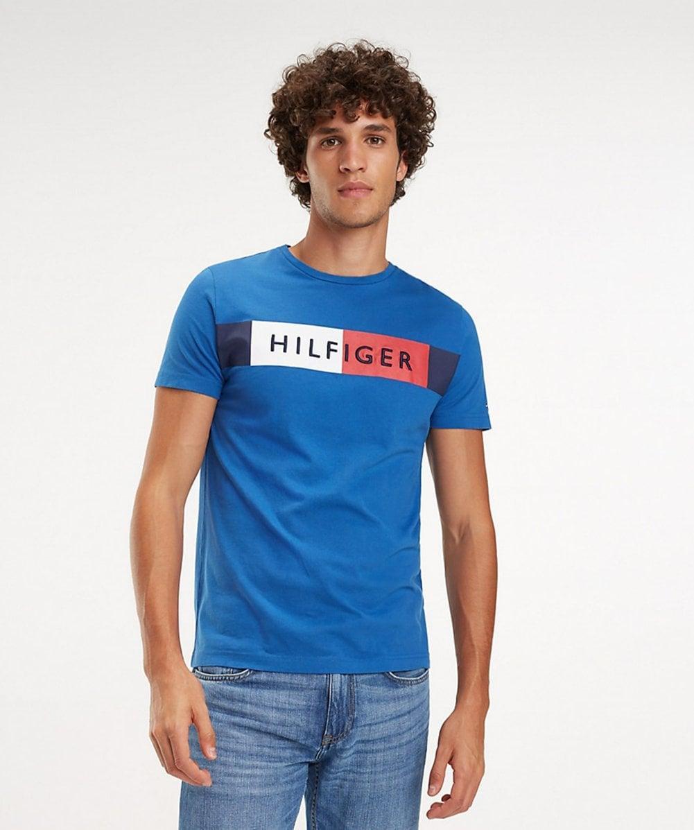 8c8855ef Lyst - Tommy Hilfiger Colour Block Flag T-shirt in Blue for Men