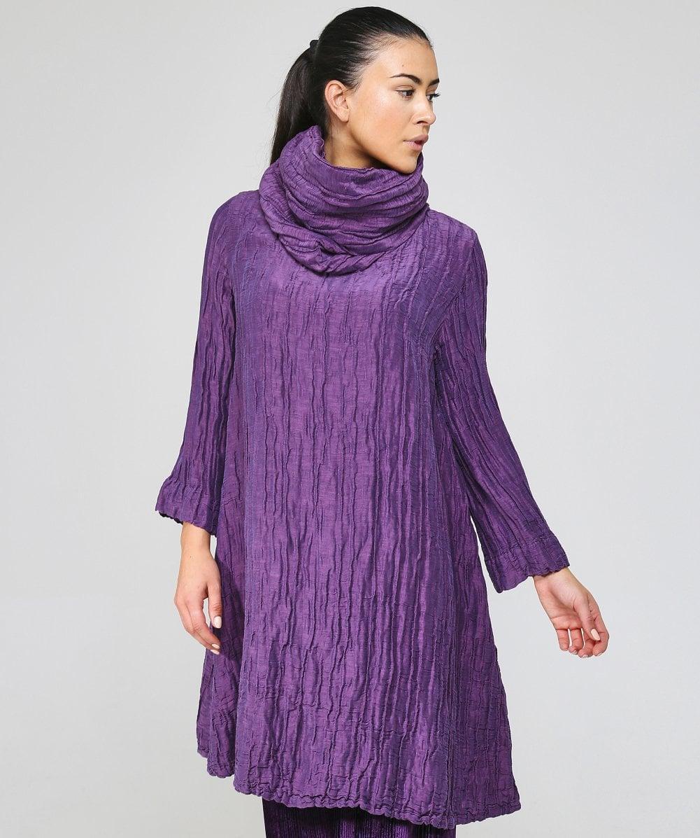 ea39aedfe5d Lyst - Grizas Linen Detachable Collar Dress in Purple