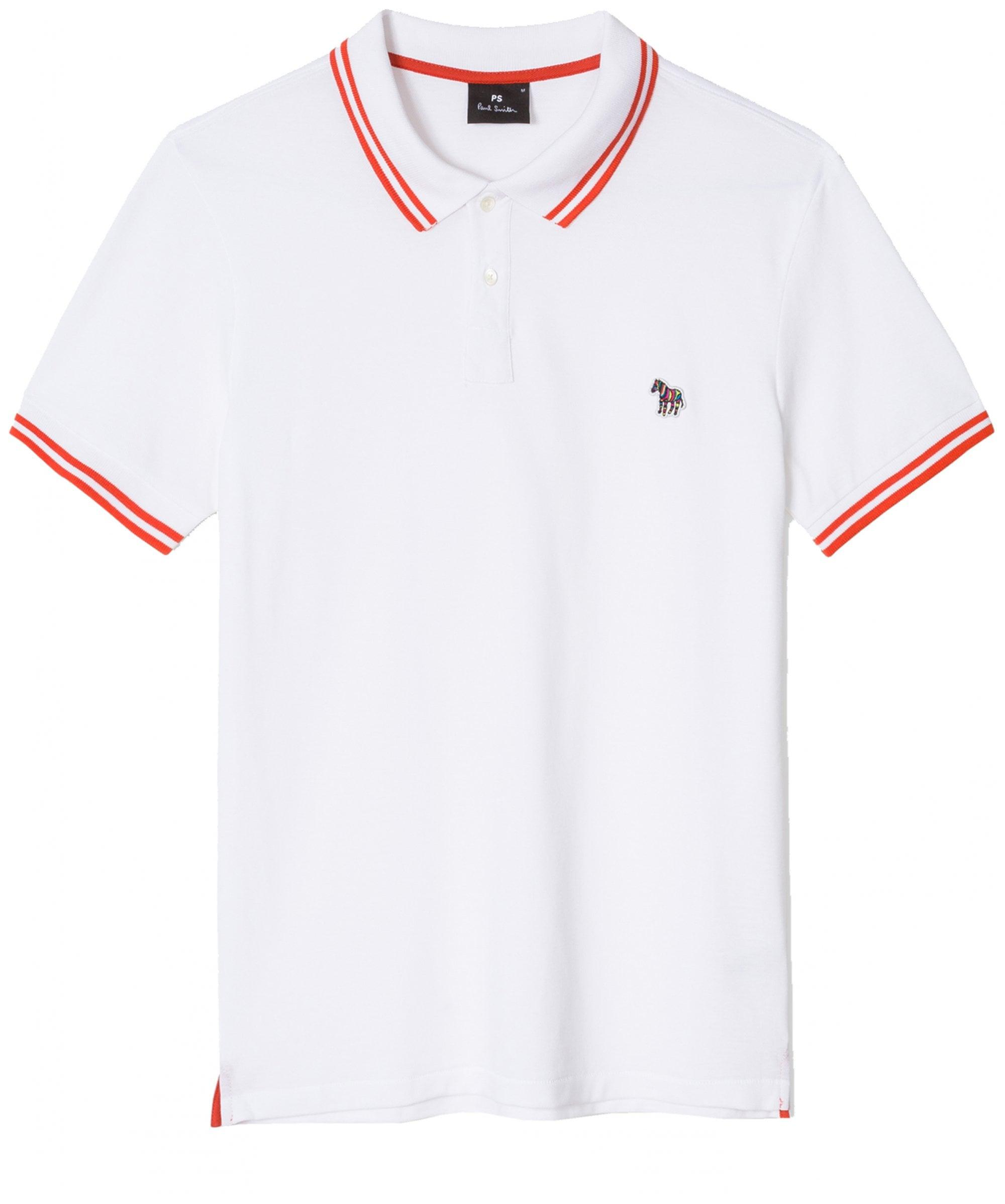 19743b377 PS by Paul Smith Regular Fit Twin Tipped Zebra Polo Shirt in White ...