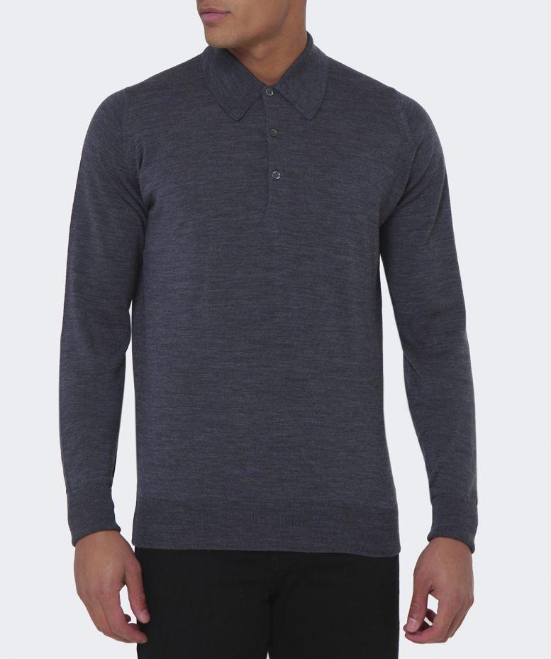 40f7bf37 John Smedley Dorset Merino Long Sleeve Polo Shirt in Gray for Men - Lyst