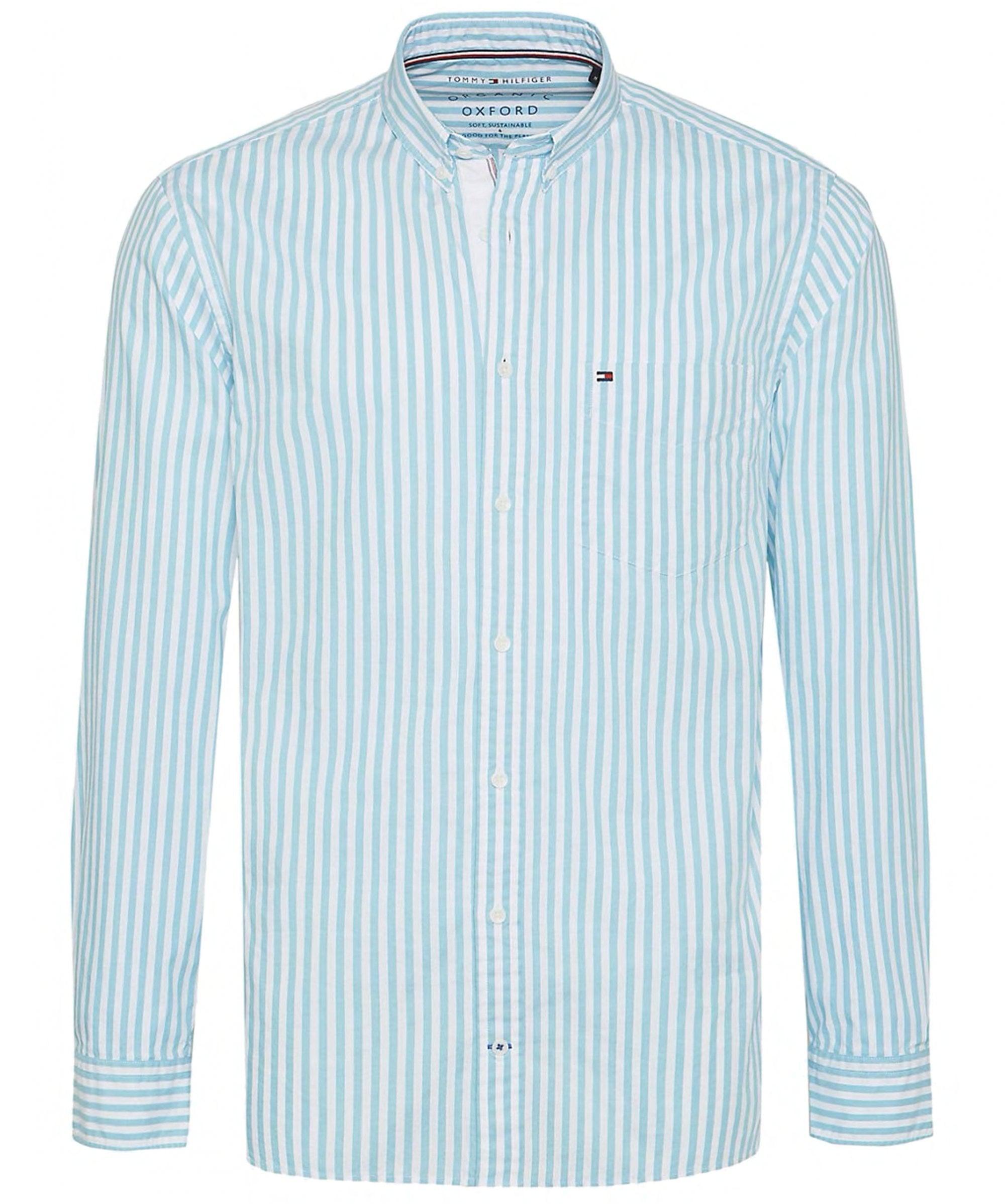 2df0e3cdb Tommy Hilfiger - Blue Regular Fit Striped Oxford Shirt for Men - Lyst. View  fullscreen