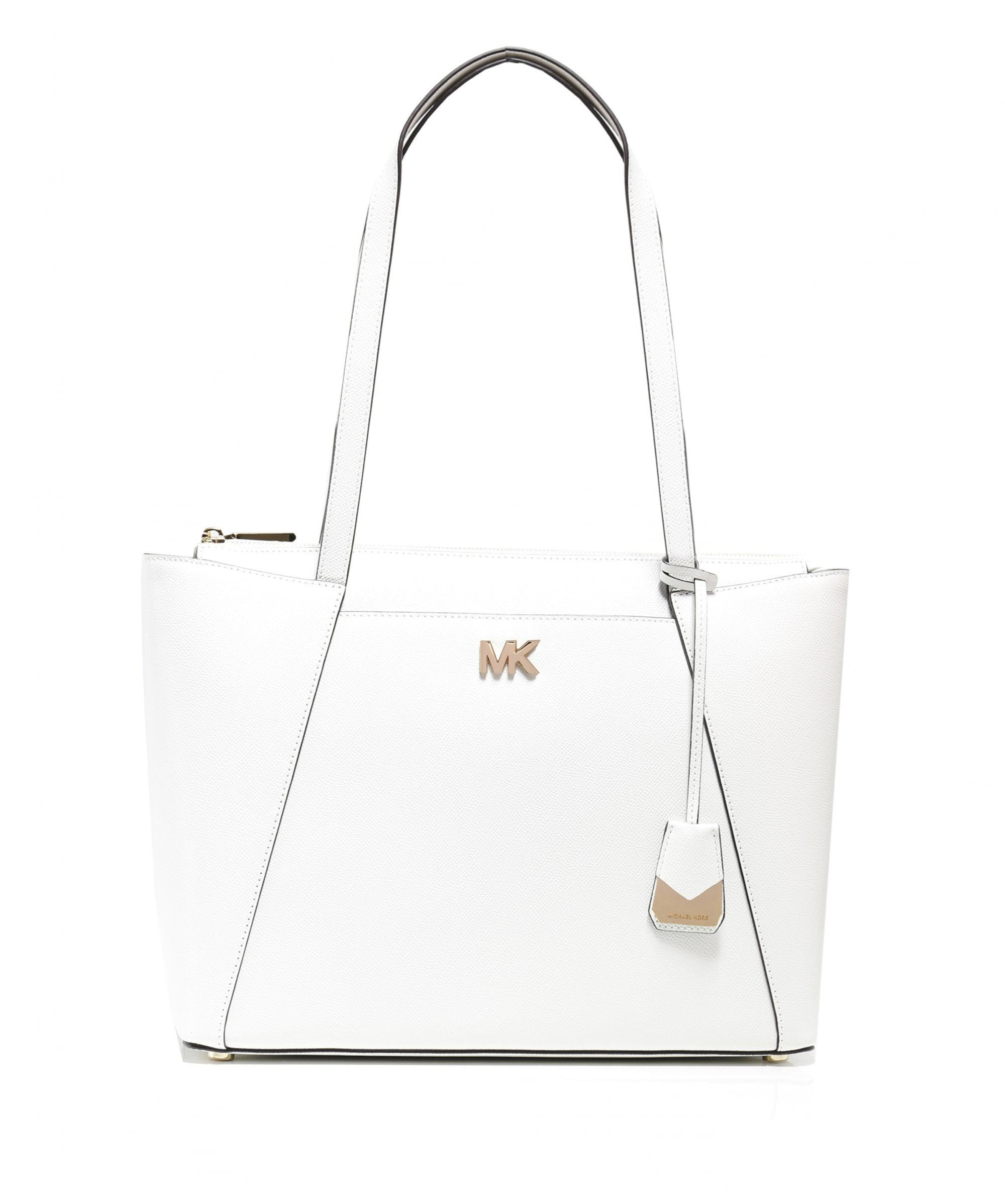 87261a80d1d9 MICHAEL Michael Kors Maddie Medium Leather Tote Bag in White - Lyst