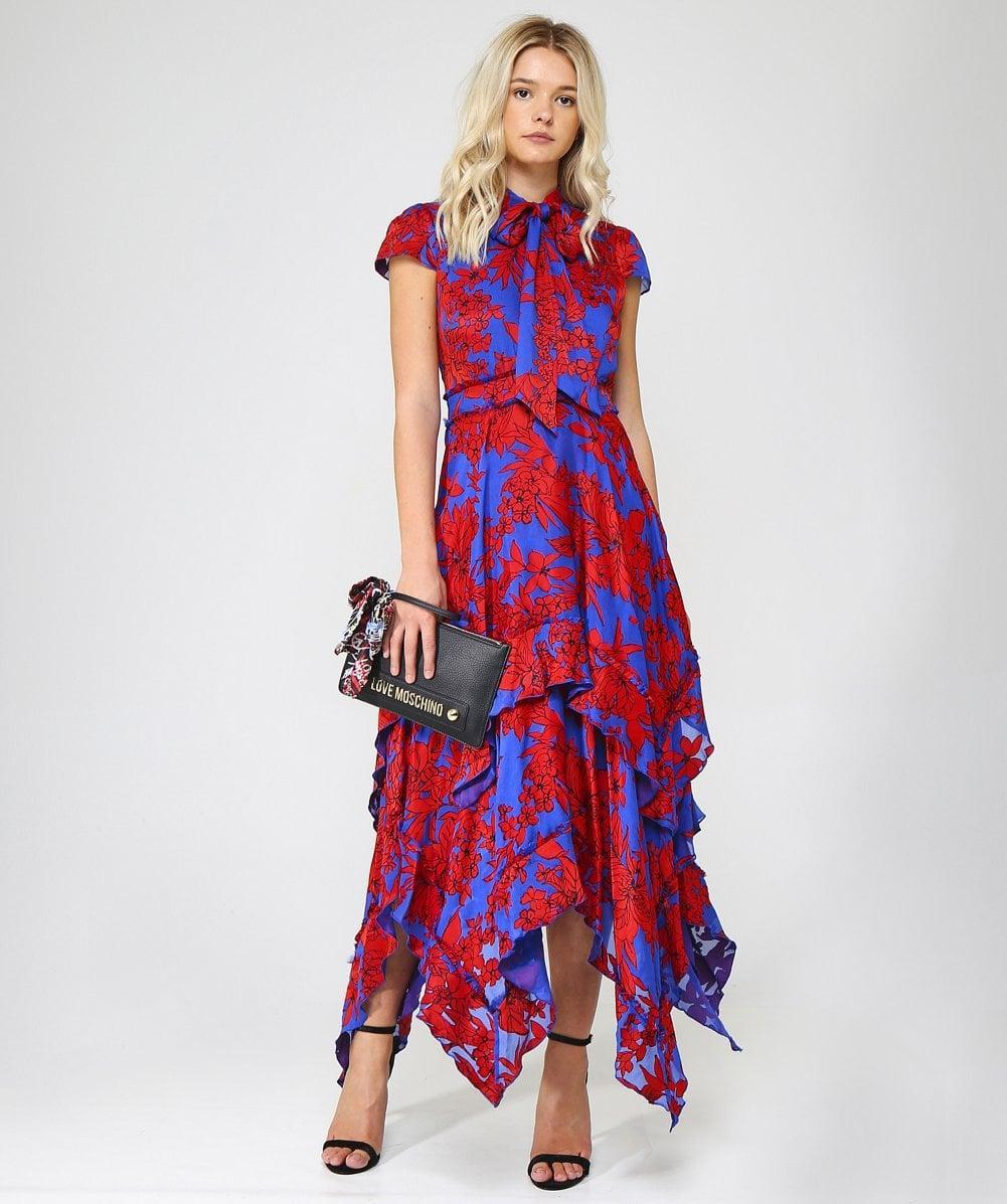 8365bee6b9 Lyst - Alice + Olivia Ilia Ruffle Hem Dress in Red