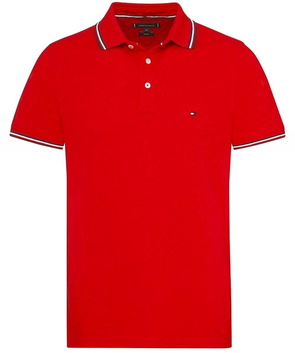 0e89f526 Tommy Hilfiger 's Tommy Tipped Slim Polo Shirt Dark Blue in Red for ...