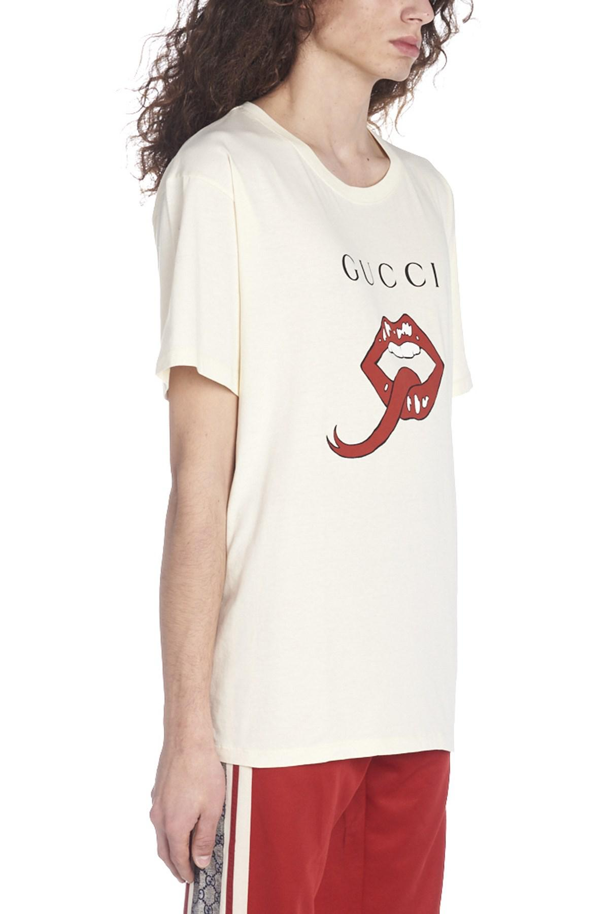 04f74713200 Lyst - Gucci   Mouth  T-shirt in White for Men
