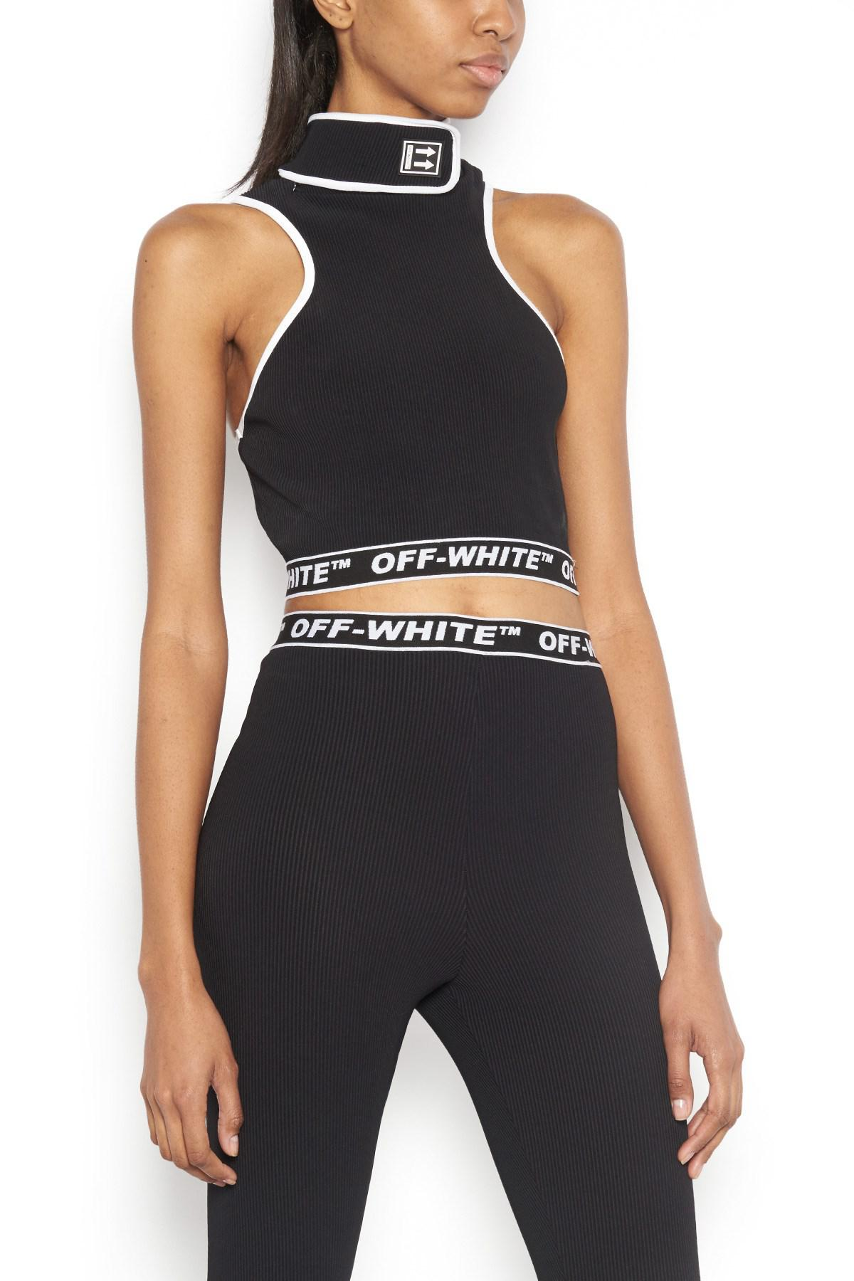 d0218fba2e3 Off-White c/o Virgil Abloh 'cannette' Crop Top in Black - Lyst