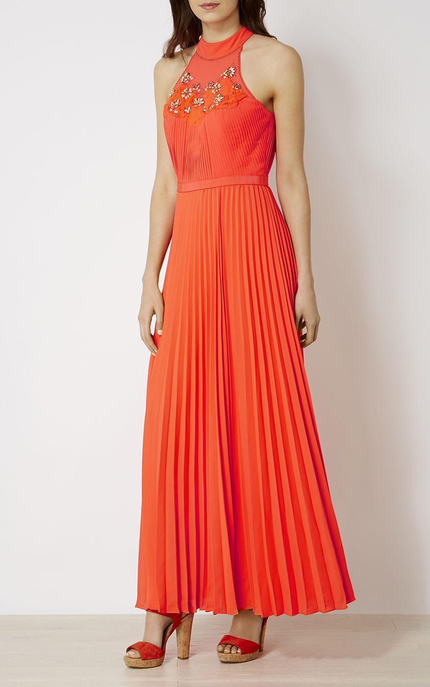 Karen Millen Synthetic Jewel Pleated Maxi Dress - Coral In -5437