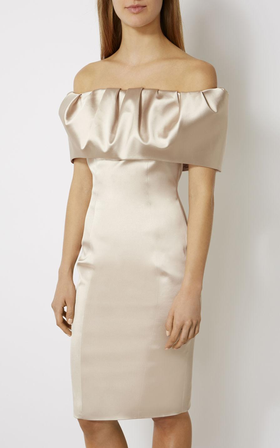 Karen Millen Off The Shoulder Pencil Dress Nude In Natural Lyst Jolie Clothing Joie Midi L