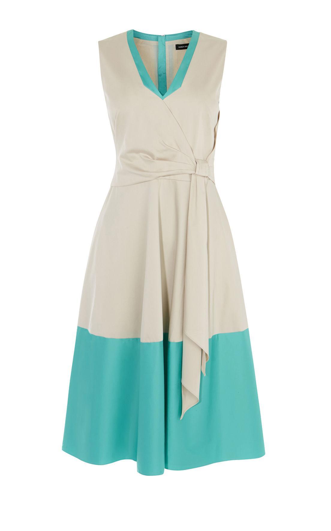Lyst - Karen Millen Grey & Blue Midi Dress - Blue/multi in Blue