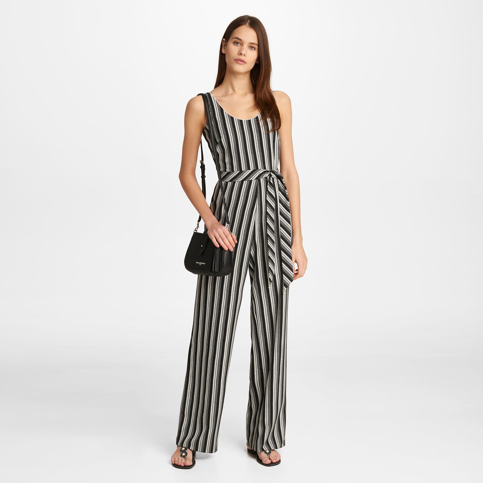 de3cb3c4df00 Lyst - Karl Lagerfeld Striped Jumpsuit in Black