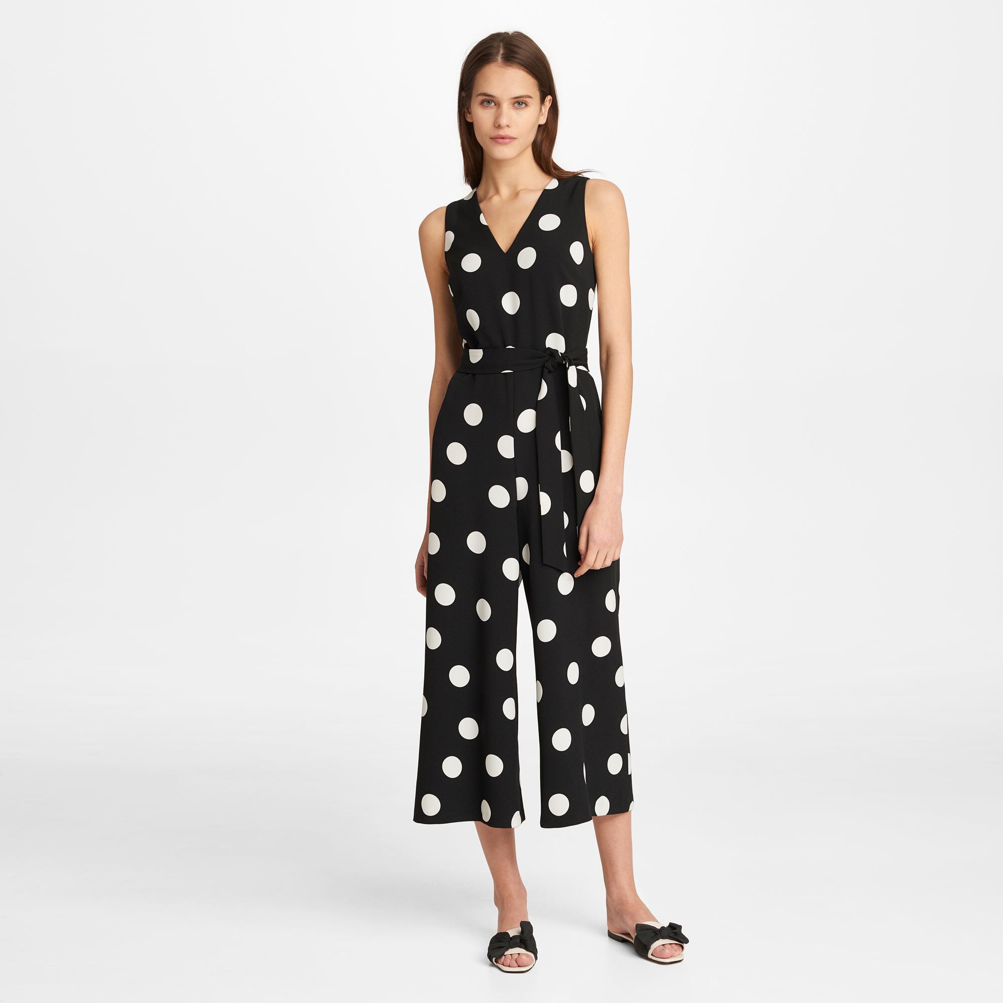 f85d88383c0b Lyst - Karl Lagerfeld Polka Dot V-neck Scuba Crepe Jumpsuit in Black ...