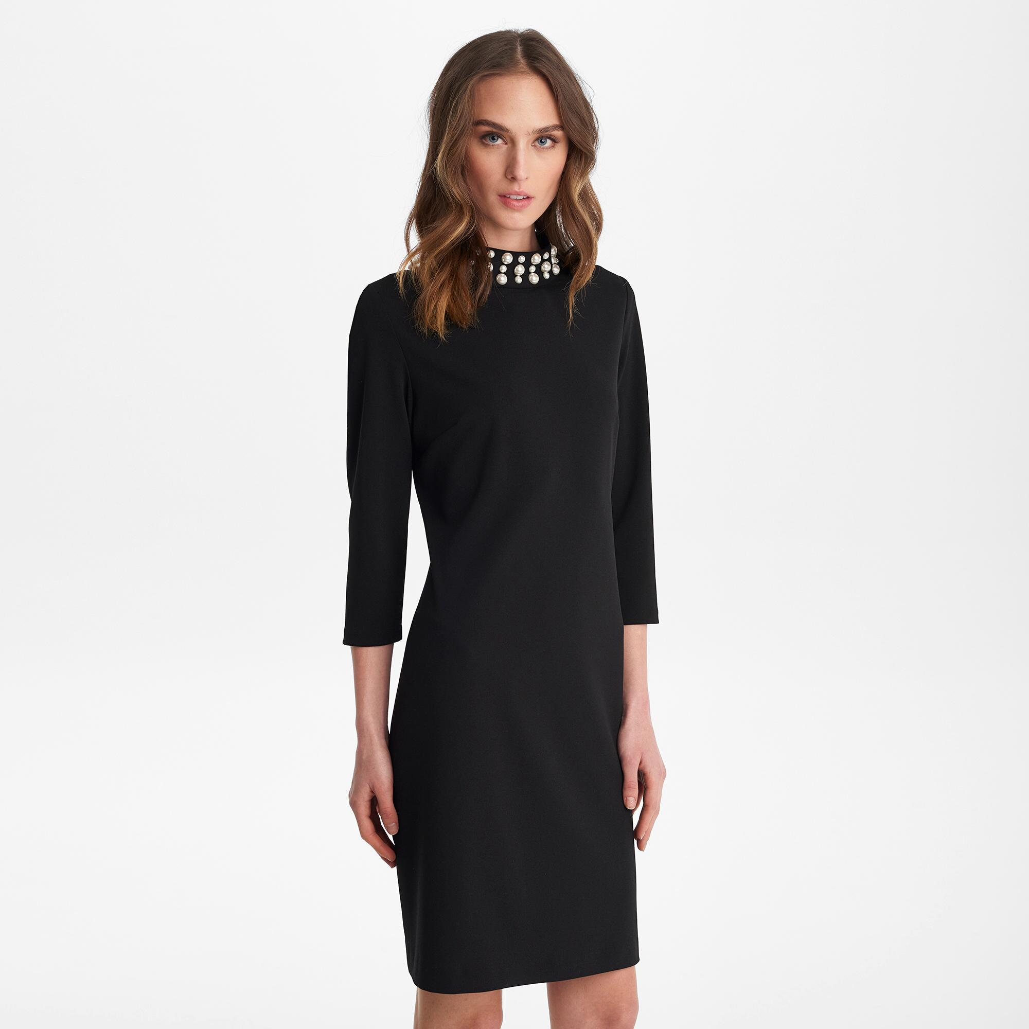8eaf6ea168e Lyst - Karl Lagerfeld Long Sleeve Pearl Mock Neck Shift Dress in Black