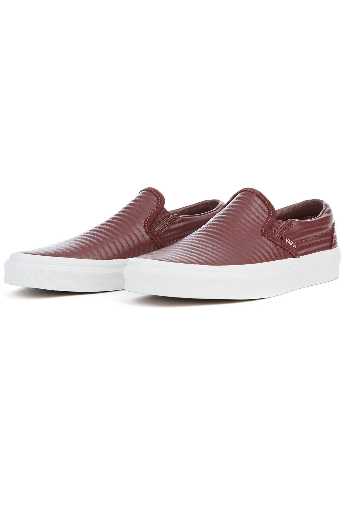 4124980f788d Lyst - Vans The Women s Classic Slip Moto Leather In Madder Brown ...