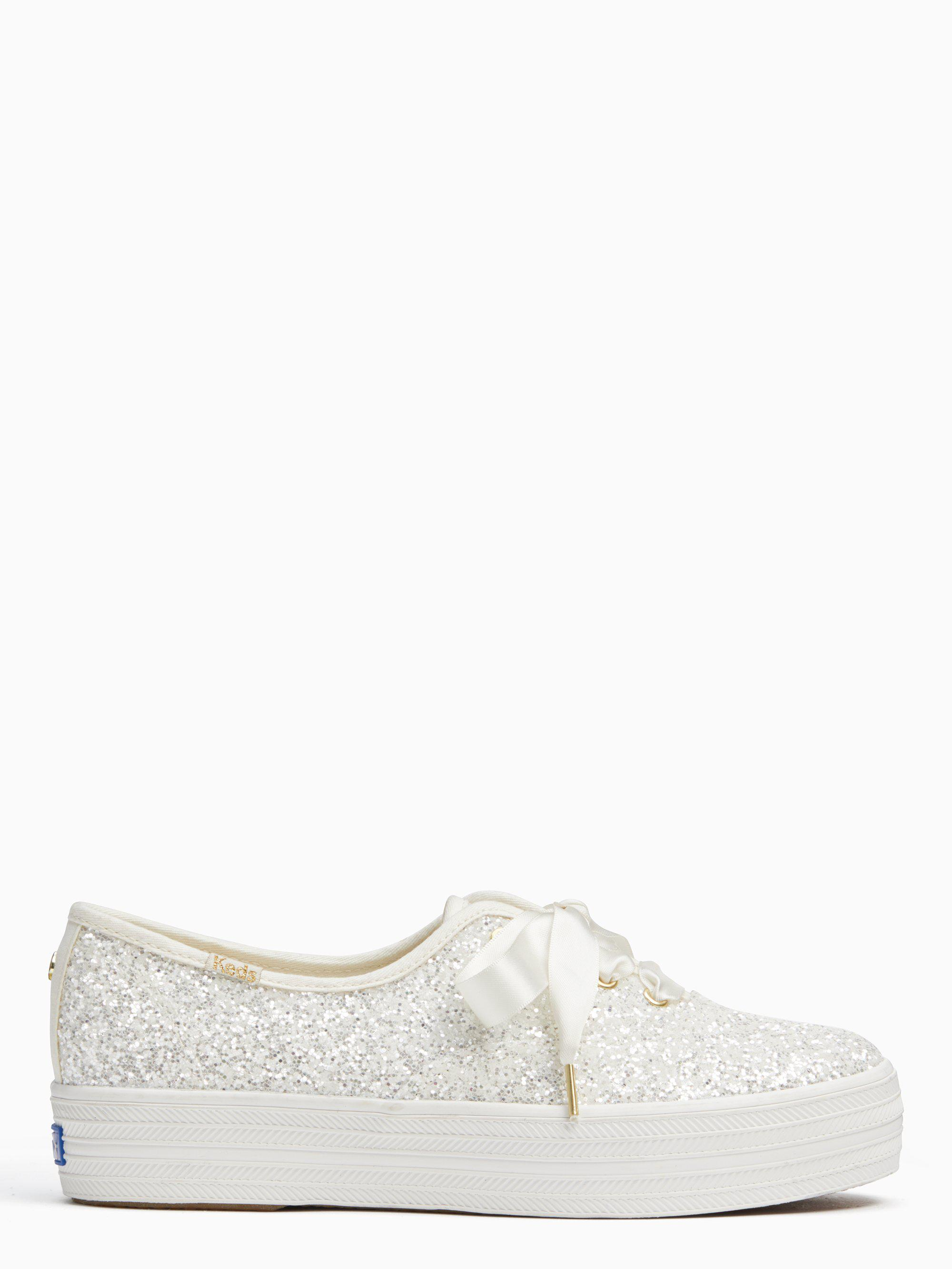 fa63aacf63 Lyst - Kate Spade Keds X New York Triple Glitter Sneakers in Natural