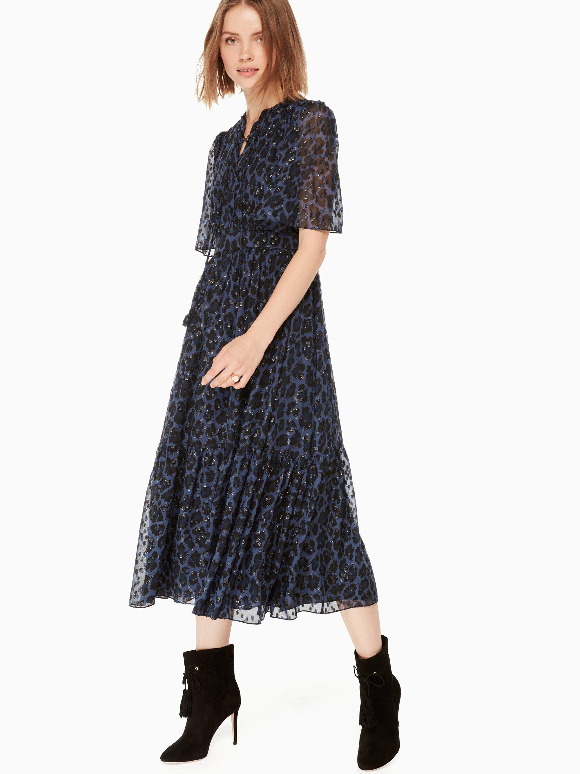 ab735b430a Lyst - Kate Spade Leopard-print Clip Dot Midi Dress in Blue - Save 20%