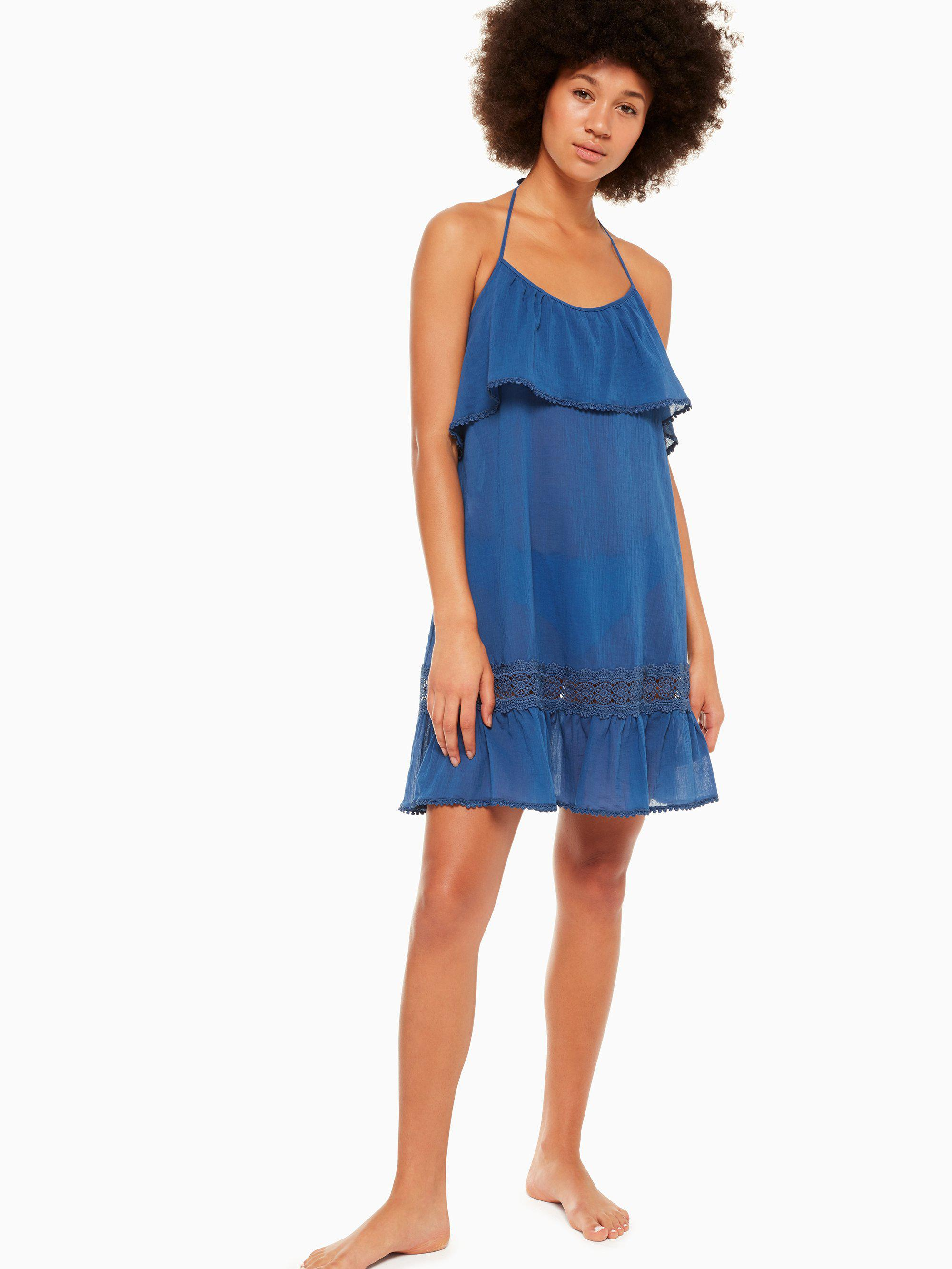 15257e7cb7 Lyst - Kate Spade Grove Beach Ruffle Cover-up Dress in Blue