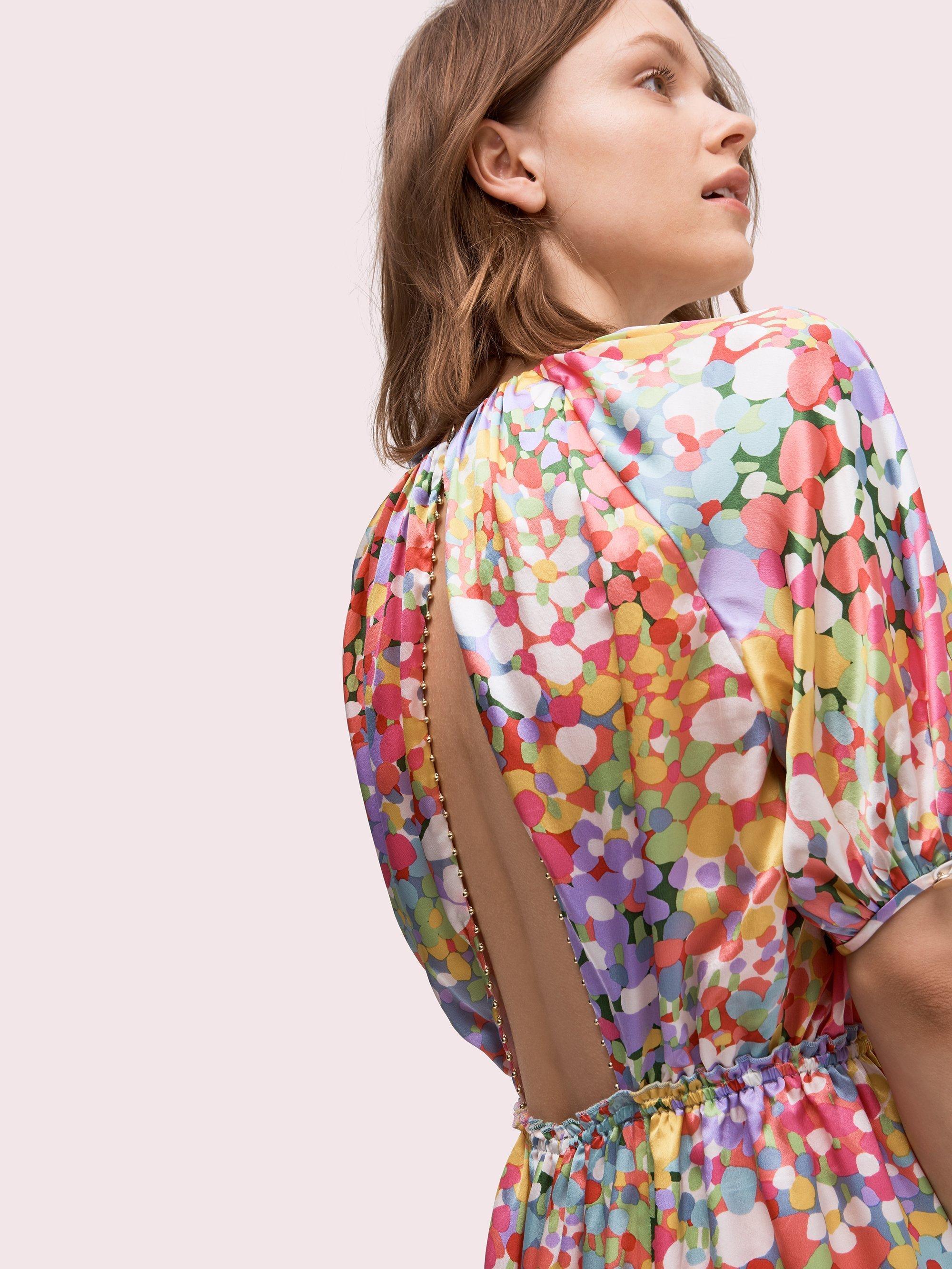 7ab5dff24b69 Lyst - Kate Spade Floral Dots Silk Dress