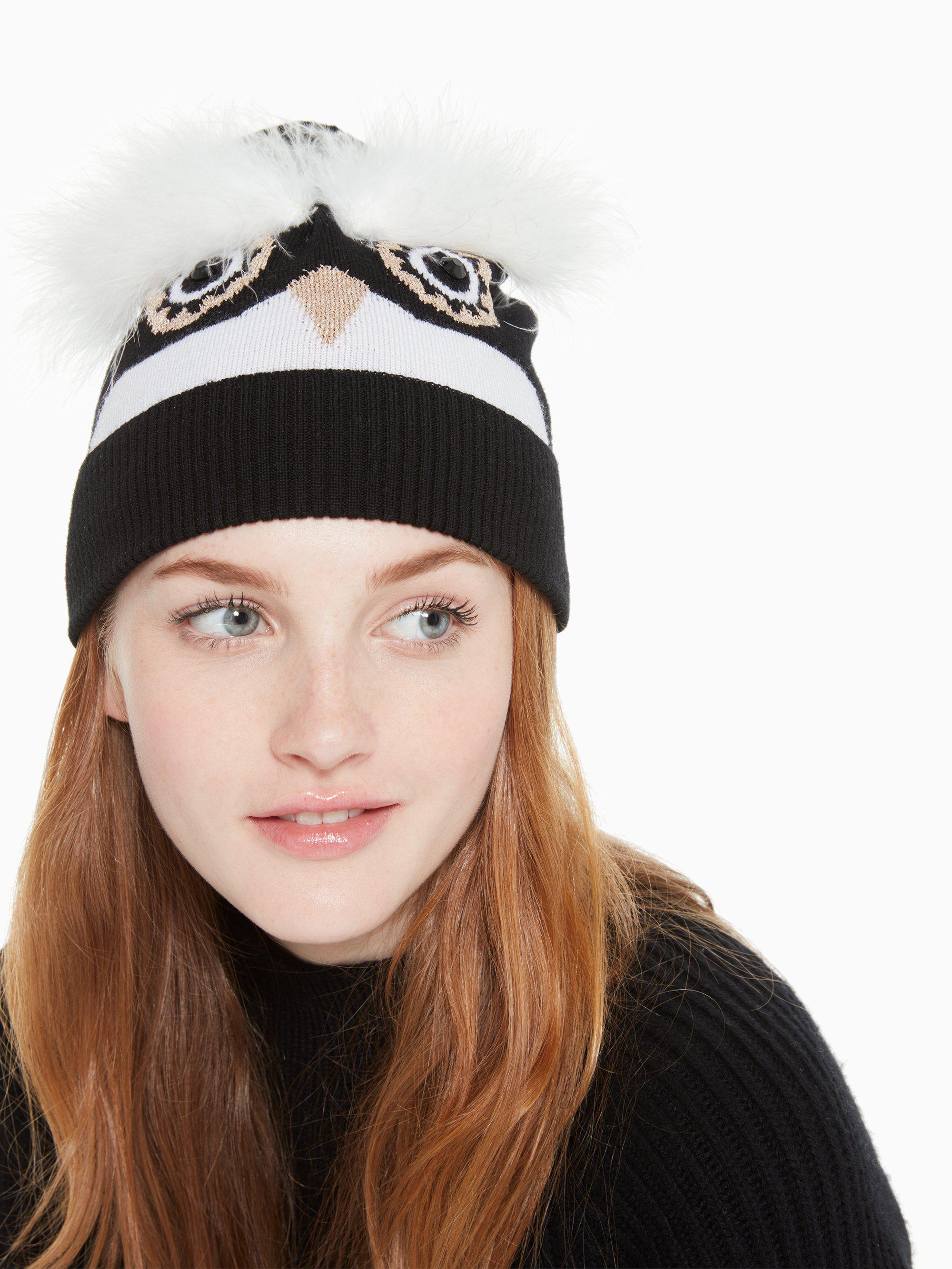 621ccf05b1f Kate Spade - Black Penguin Intarsia Beanie - Lyst. View fullscreen