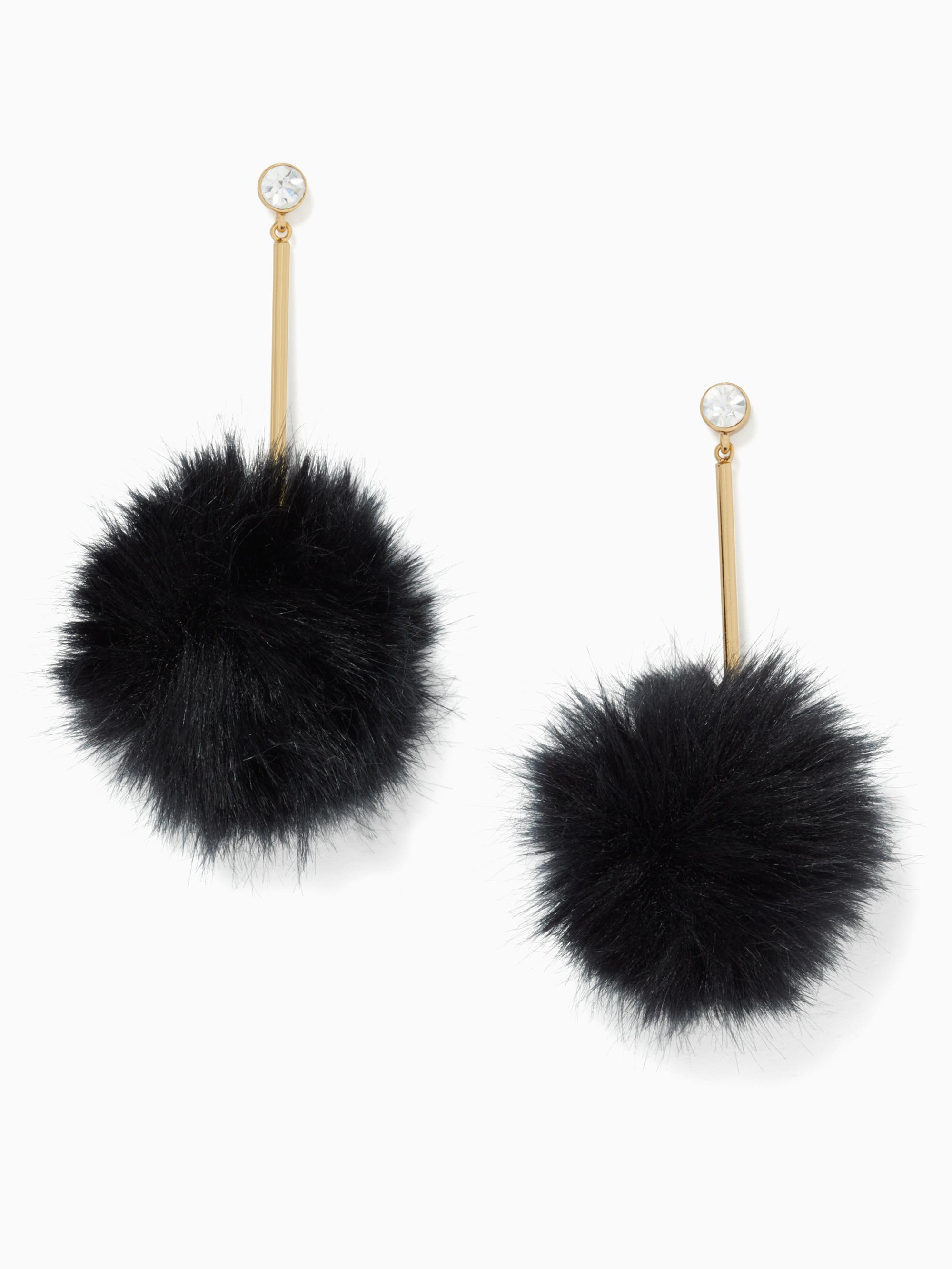 Lyst Kate Spade Flying Colors Pouf Earrings In Black