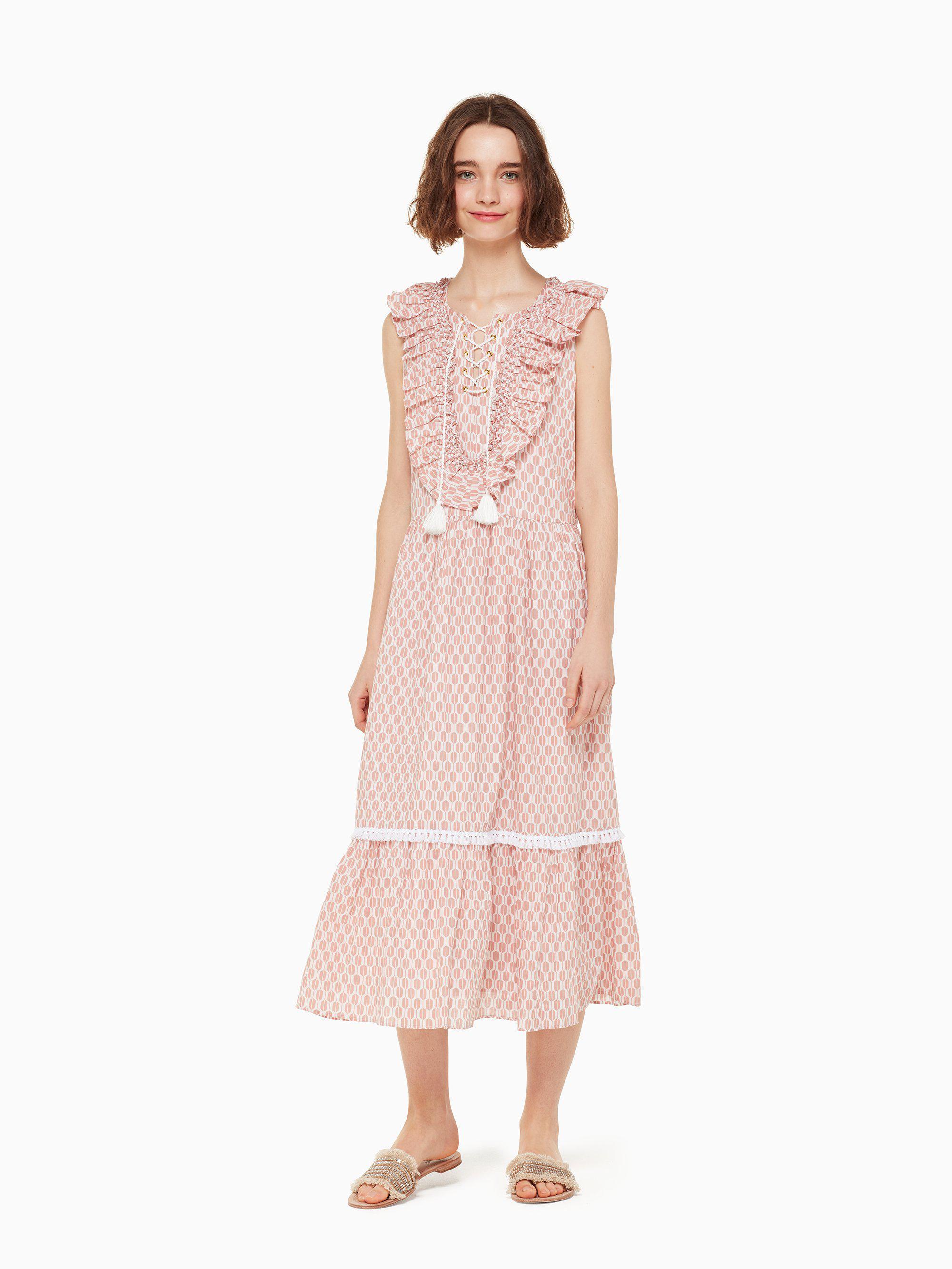0de9f2640a4 Kate Spade Arrow Stripe Lace Up Dress in Pink - Lyst