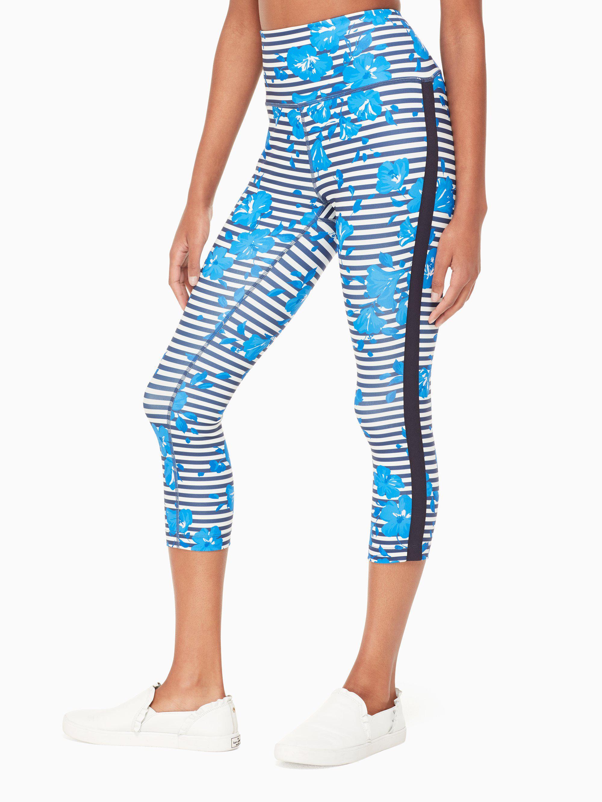 ac02868aee893 Lyst - Kate Spade Hibiscus Stripe Legging in Blue