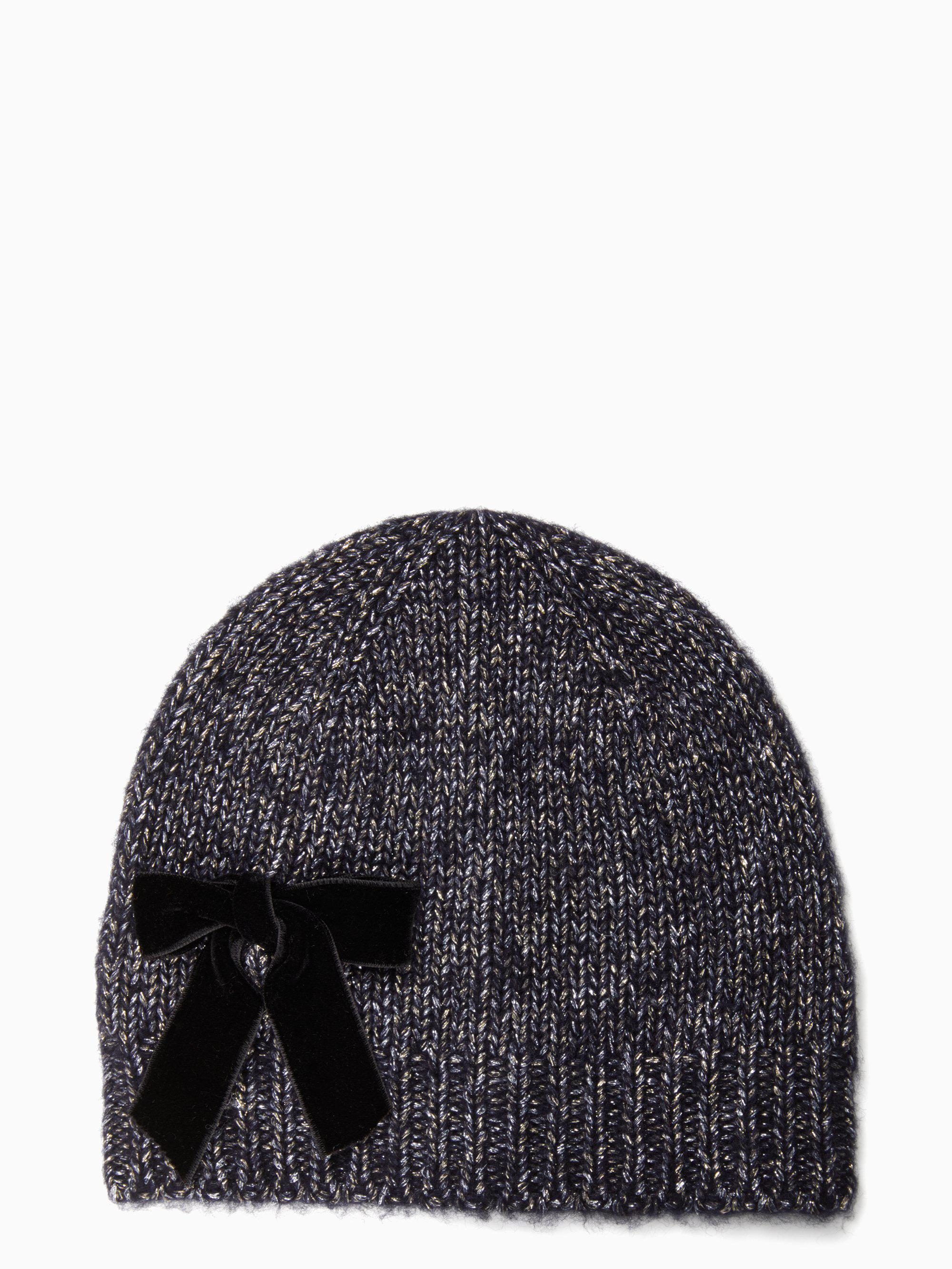 d5563c26612c7 Lyst - Kate Spade Western Velvet-bow Beanie in Blue - Save ...