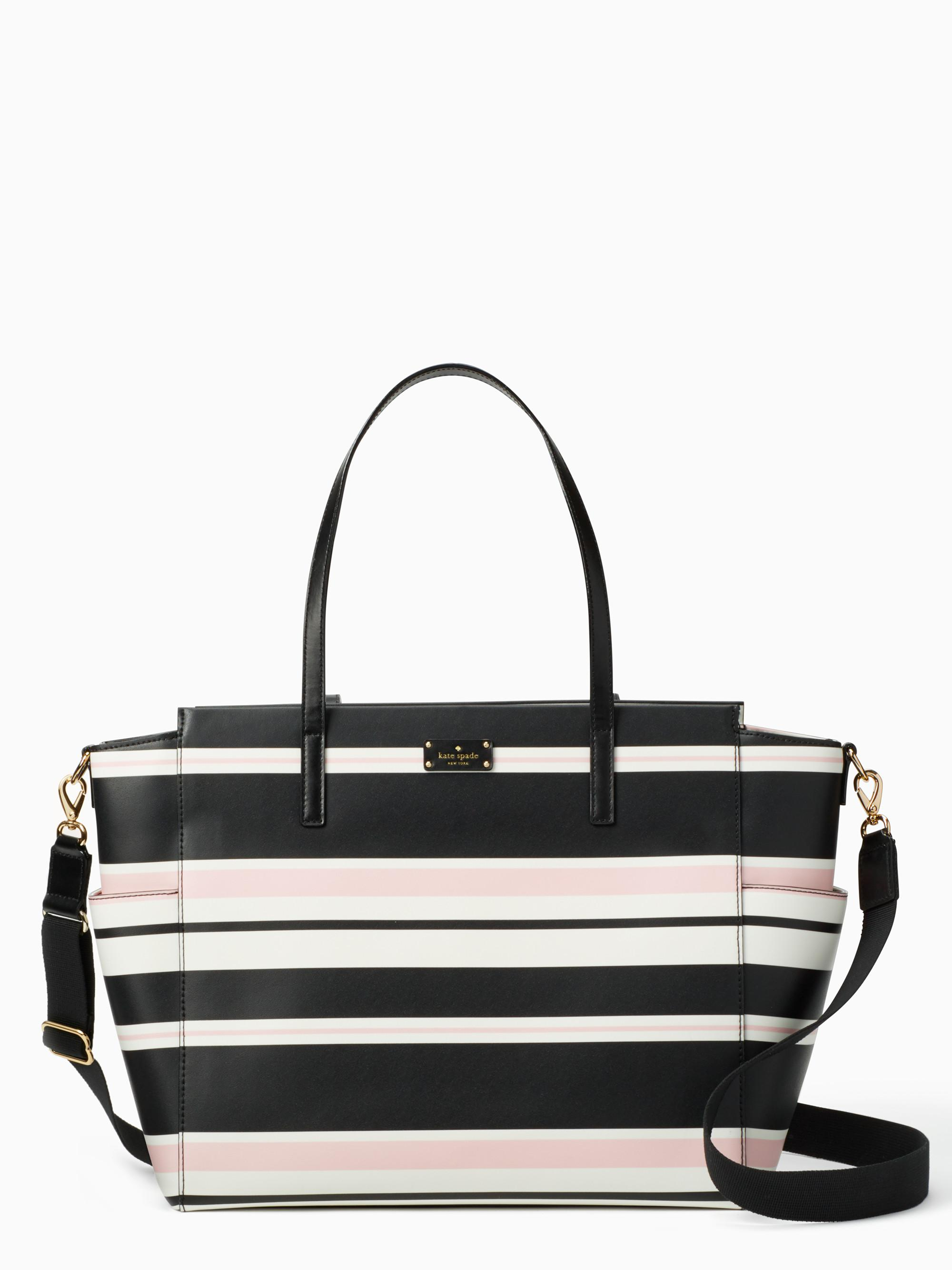 abc5cfd91087 Lyst - Kate Spade Grove Street Classic Stripe Kaylie Baby Bag in Black