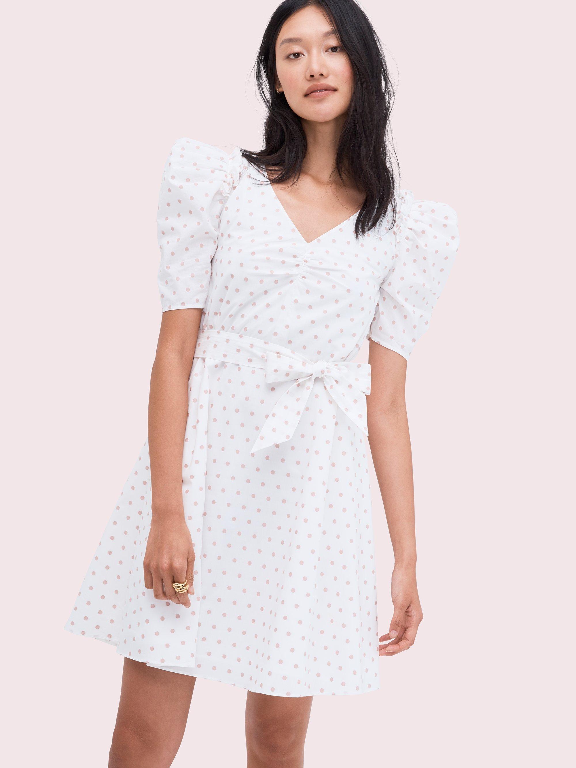 f8ee59d1b418 Lyst - Kate Spade Dot Cotton Mini Dress in White
