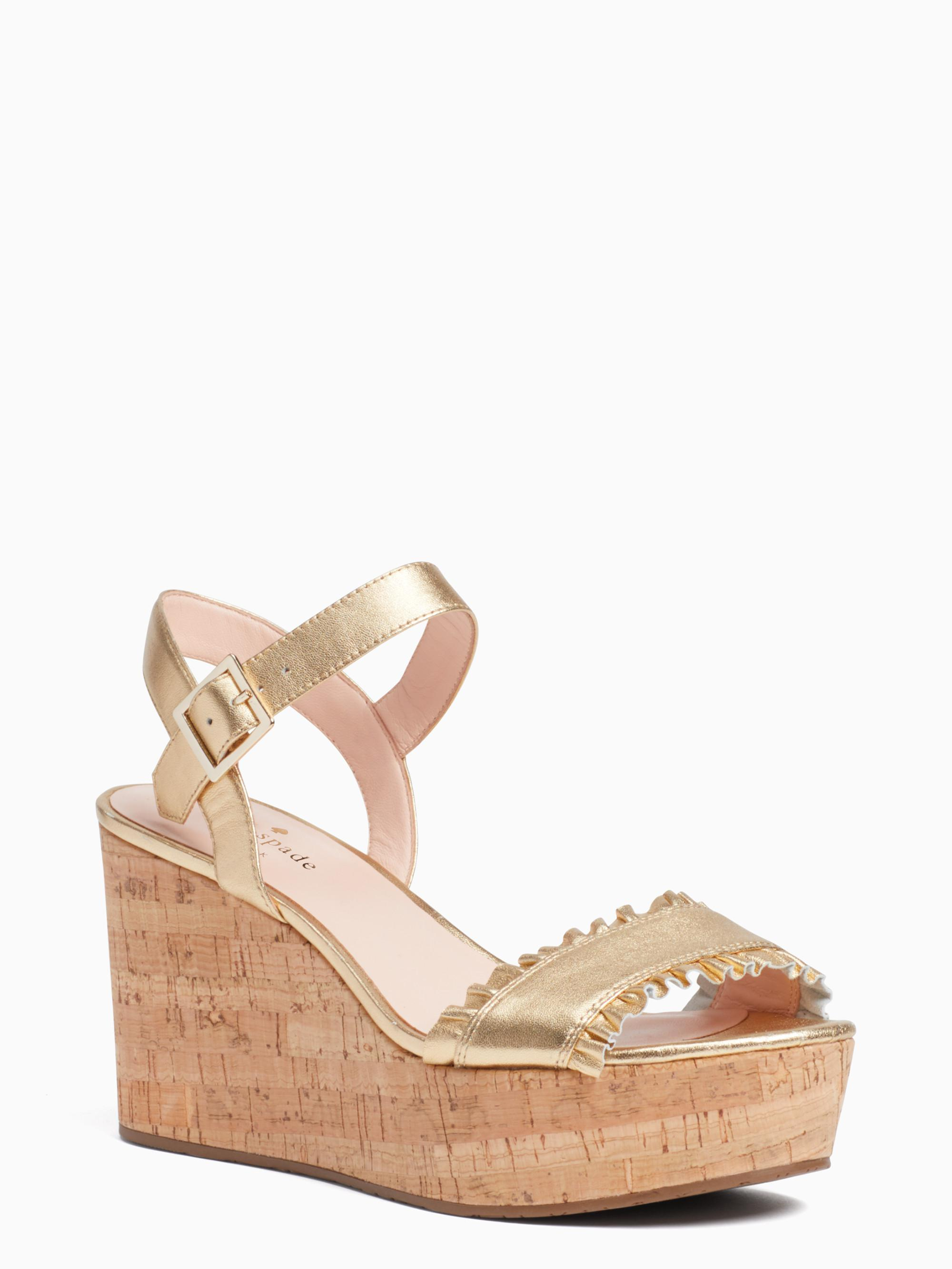 kate spade new york Tomas Metallic Leather Ruffle Detail Wedge Sandals