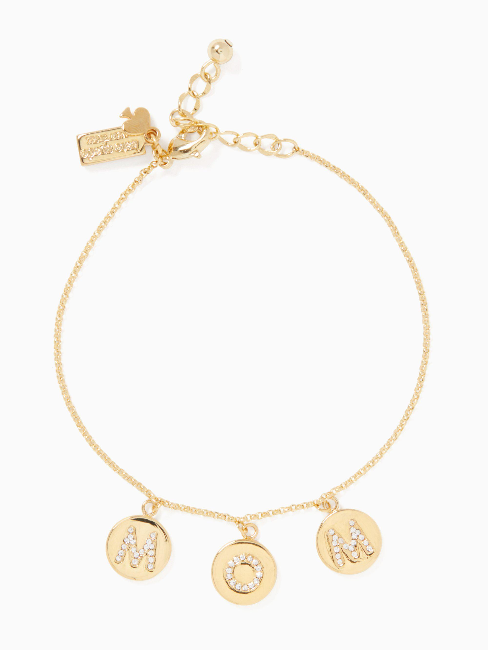 Kate Spade Women S Metallic Mom Knows Best Pave Charm Bracelet