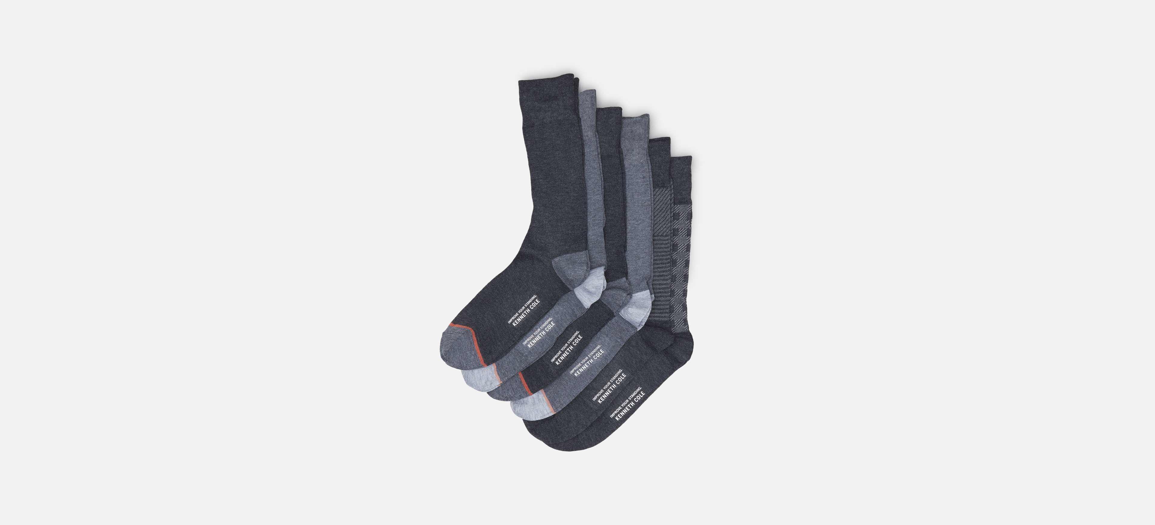 53c7613946 Lyst - Kenneth Cole Reaction Four Pack Dress Crew Socks - Stripe ...