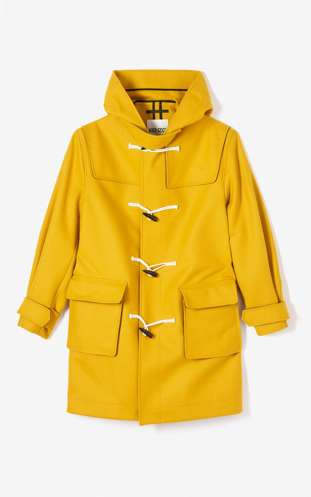 KENZO Yellow Virgin Wool Duffle Coat for men