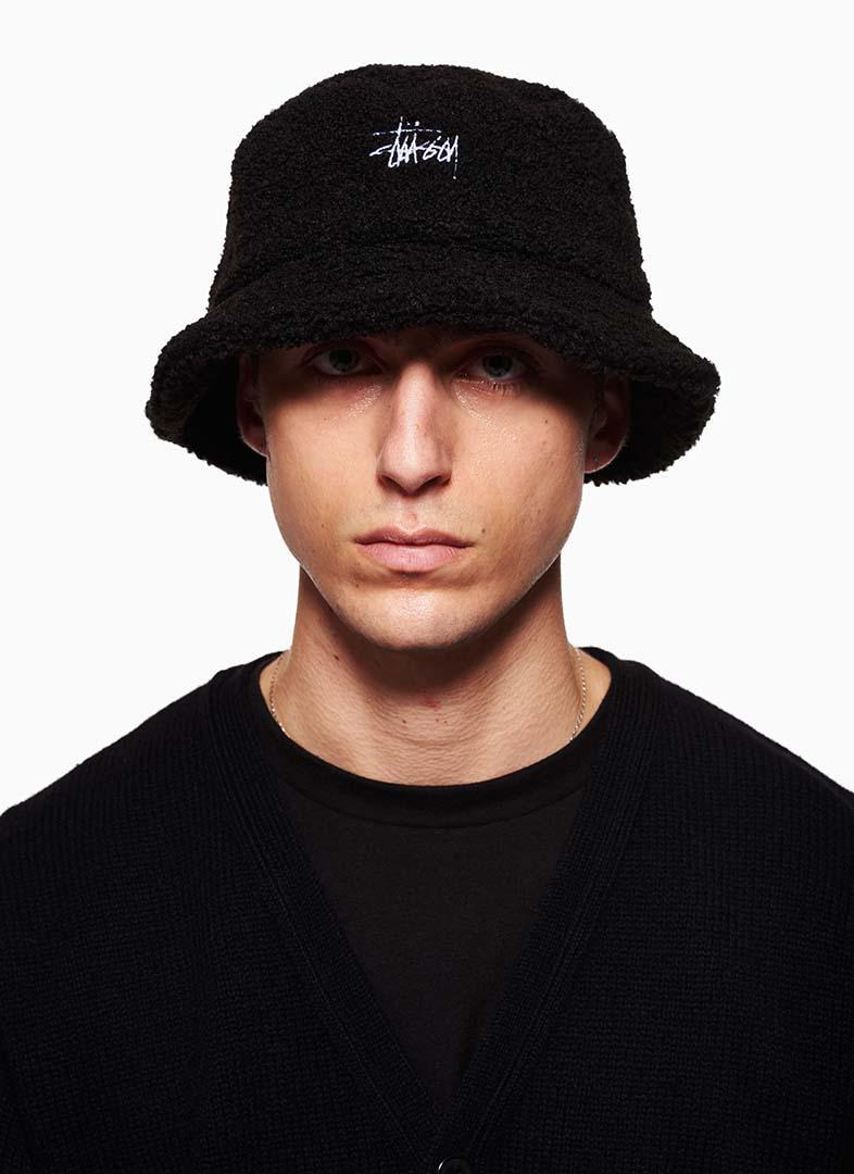 Lyst - Stussy Sherpa Fleece Bucket Hat in Black for Men d6c65934cd1a