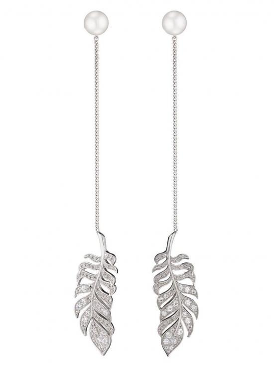 Axenoff Jewellery leaf drop earrings - Metallic pL0CZTH