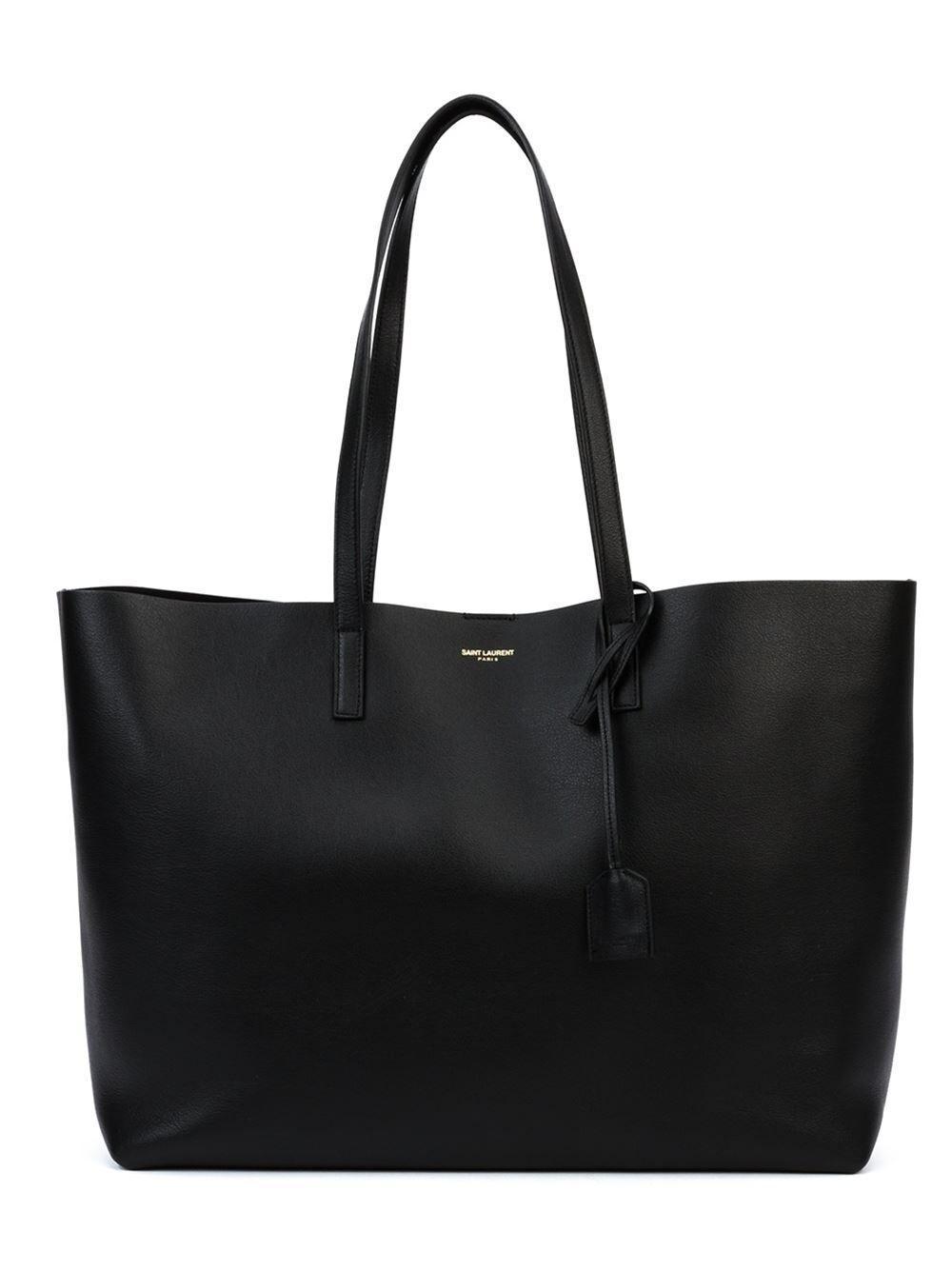 saint laurent large leather shopper tote in black lyst. Black Bedroom Furniture Sets. Home Design Ideas