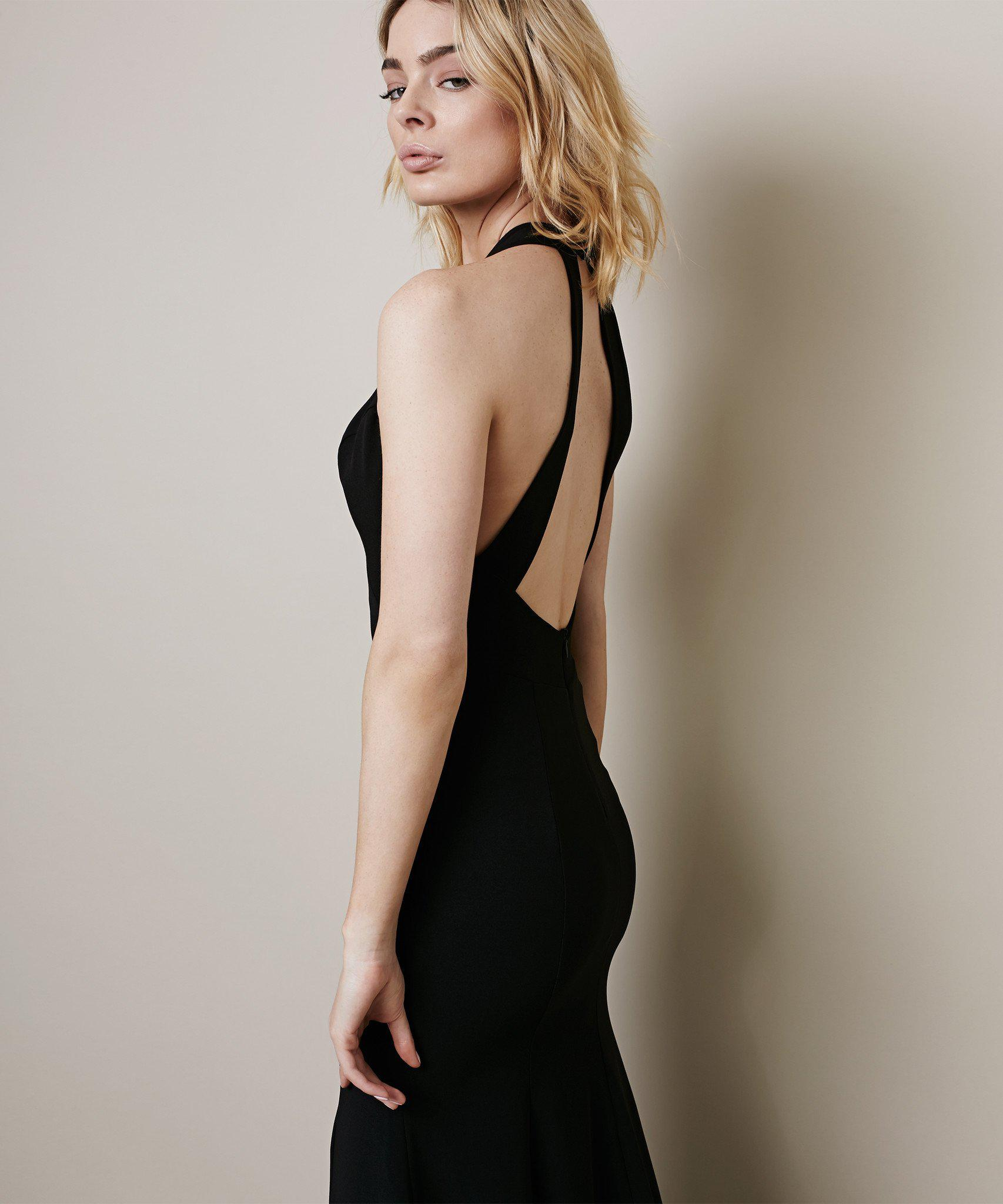2e54bf904d0 Lyst - Krisa Halterneck Maxi Dress in Black