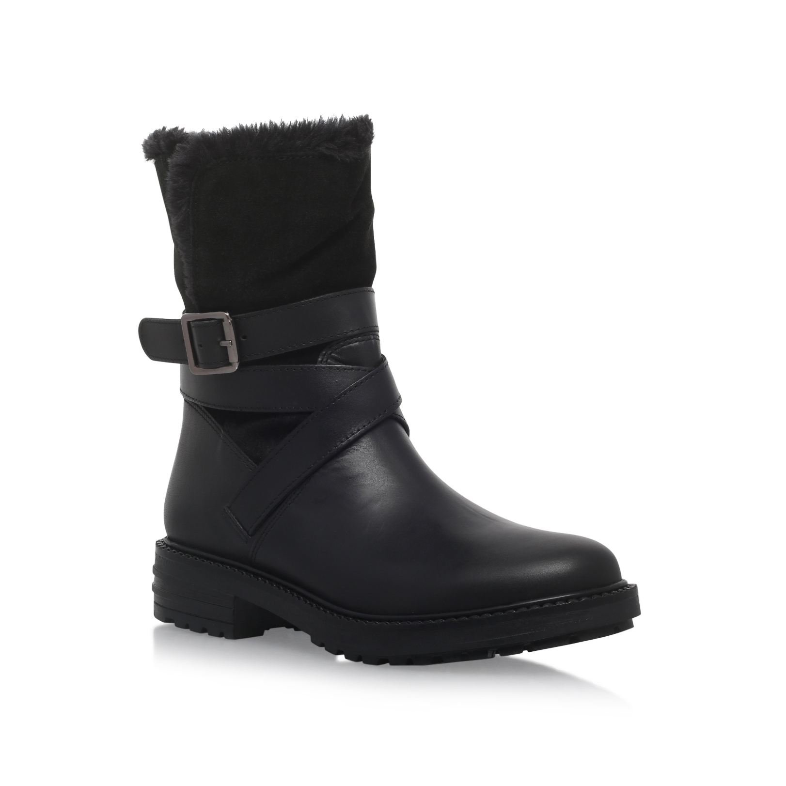 kg by kurt geiger soldier flat calf boots in black lyst
