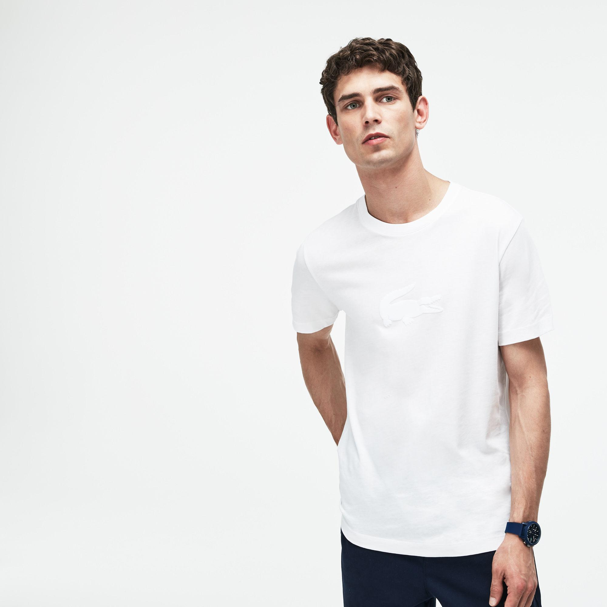 1691af27 Lyst - Lacoste Crew Neck Oversized Crocodile Jersey T-shirt in White ...