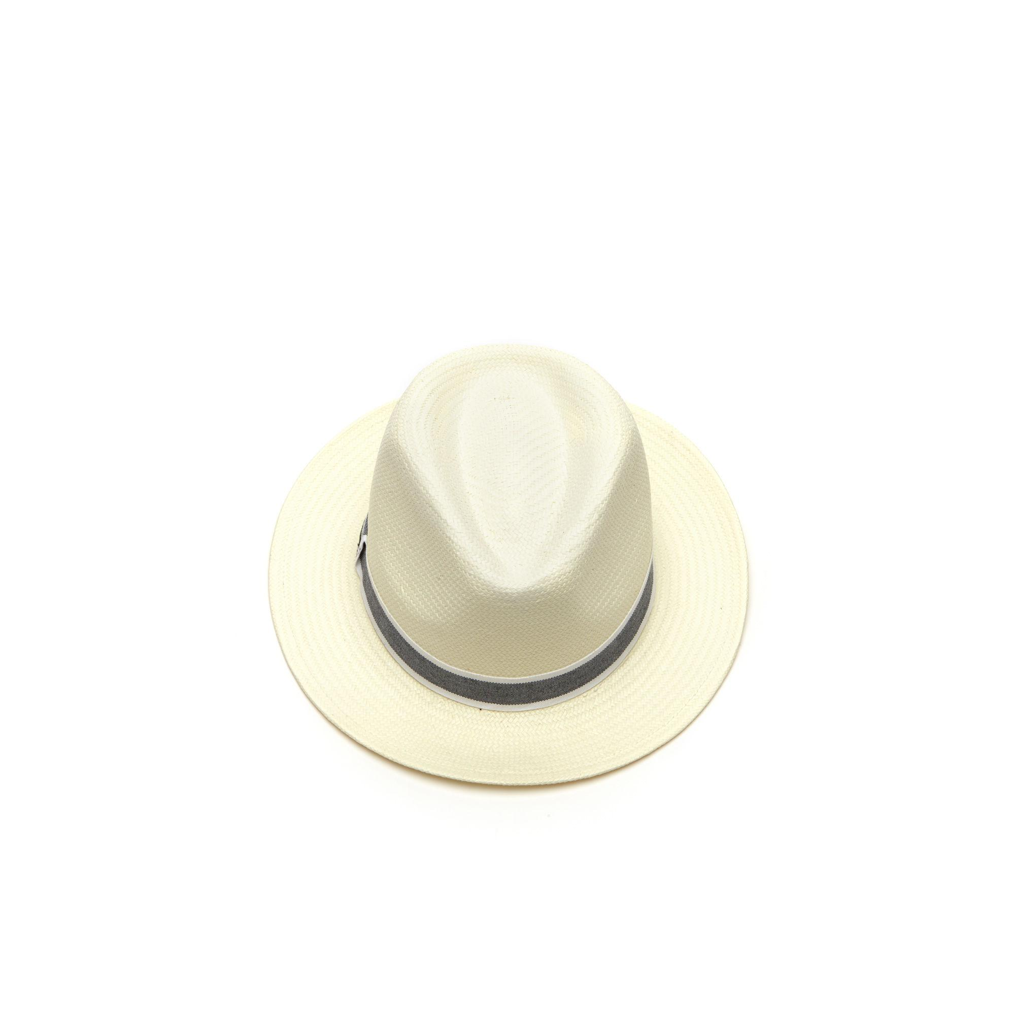 Lyst - Lacoste Woven Straw Panama in White for Men e53366bdfb5