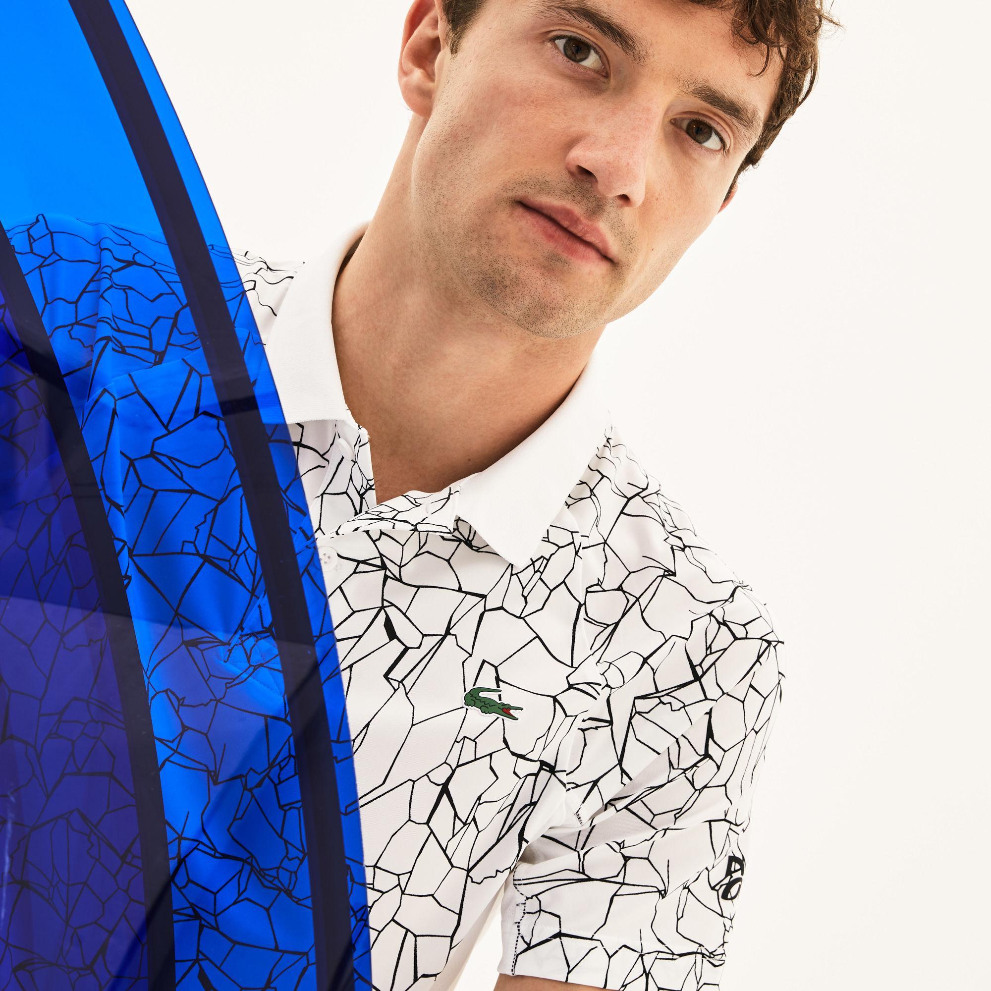 331ad4ec Lacoste. Men's White Sport Print Technical Jersey Polo - X Novak Djokovic On  ...